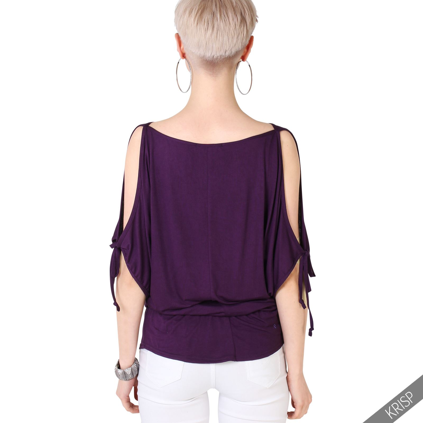 au womens split sleeve blouse cold shoulder oversized. Black Bedroom Furniture Sets. Home Design Ideas
