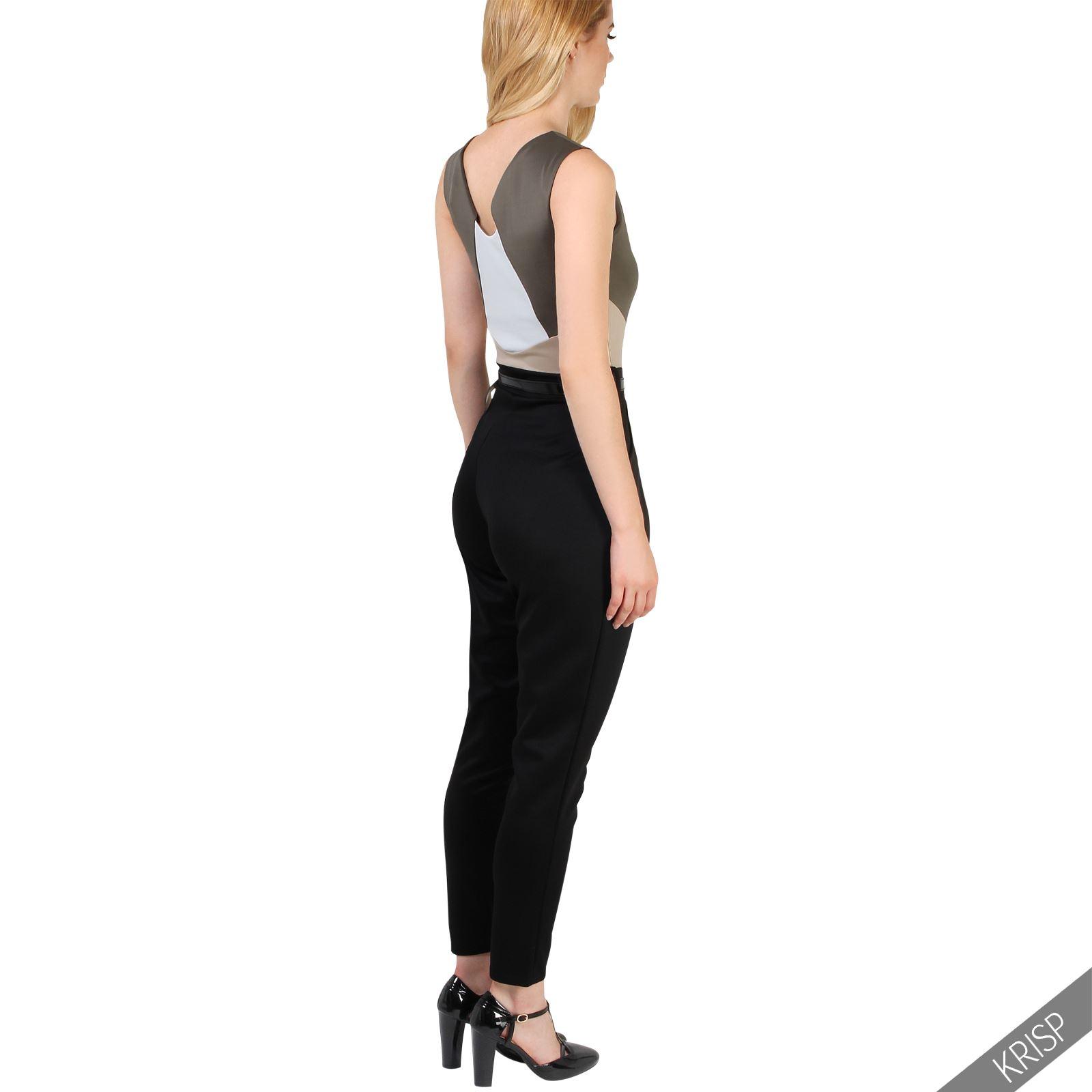 damen stretch overall rmellos business elegant jumpsuit. Black Bedroom Furniture Sets. Home Design Ideas