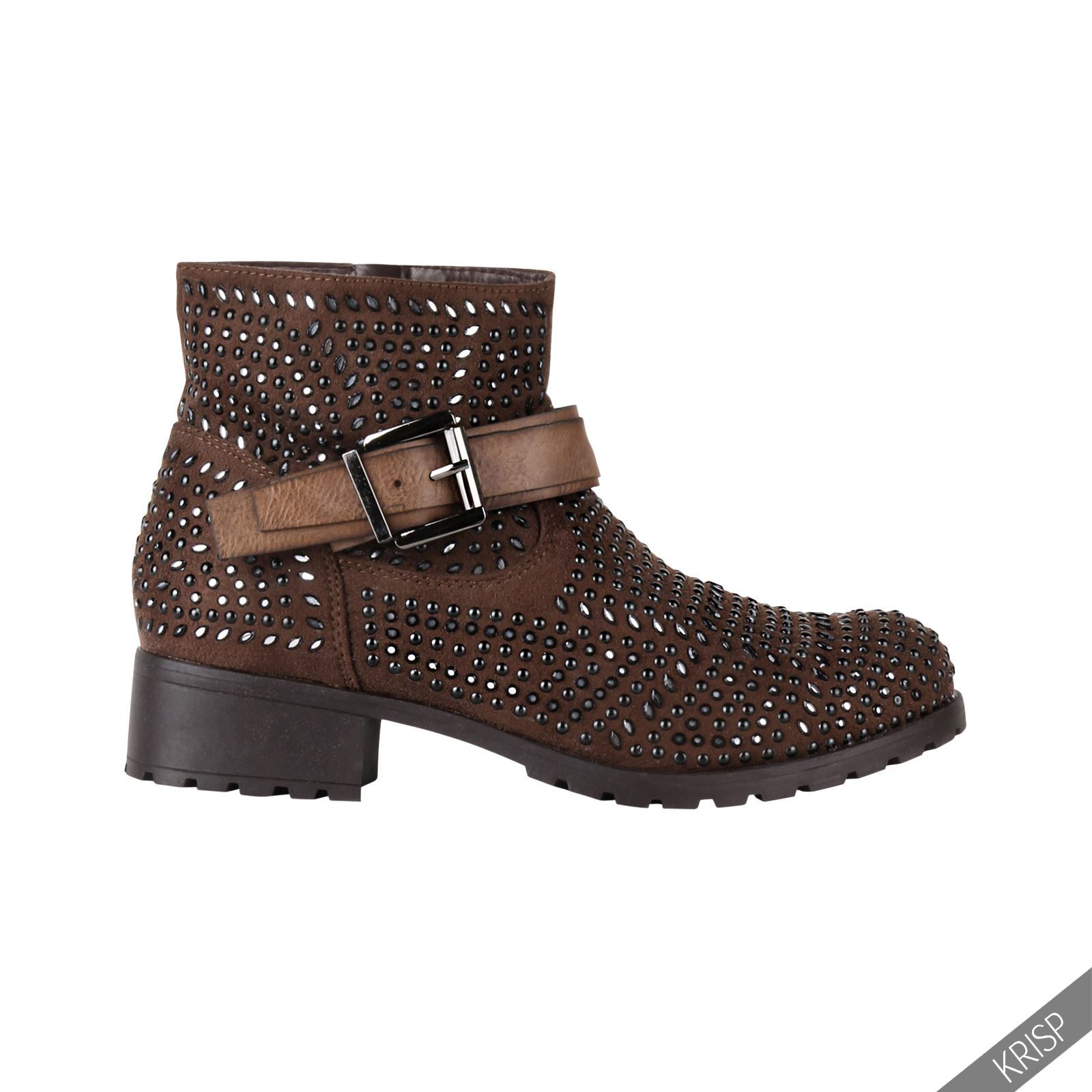 Fantastic Womens Fashion Studded Ankle Biker Boots Low Heel Rock Punk Buckle Strap Shoes | EBay