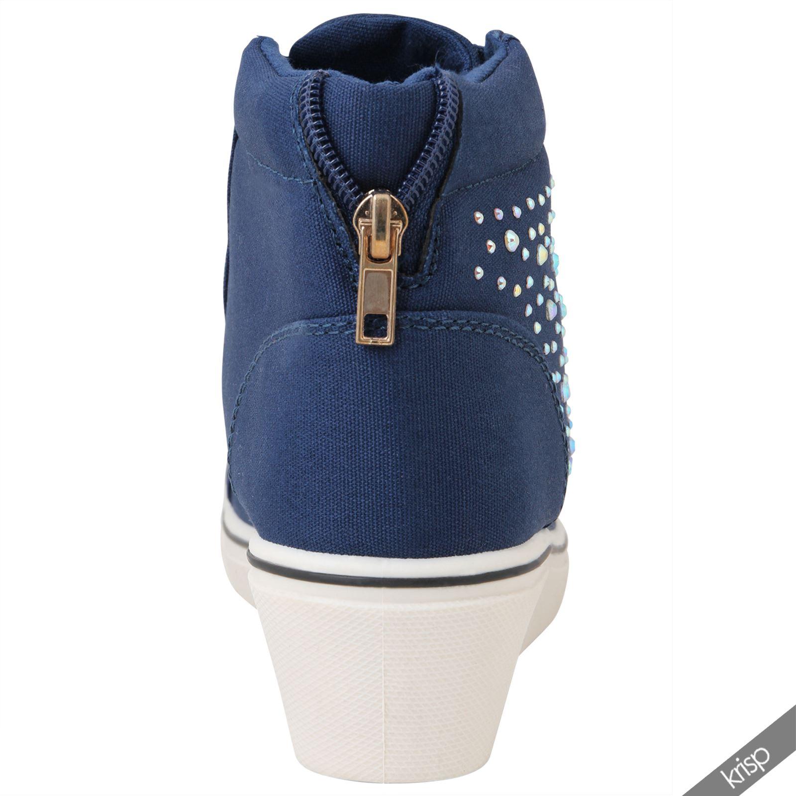 femmes baskets brillantes haut talon compens strass sneakers taille 36 41 ebay. Black Bedroom Furniture Sets. Home Design Ideas