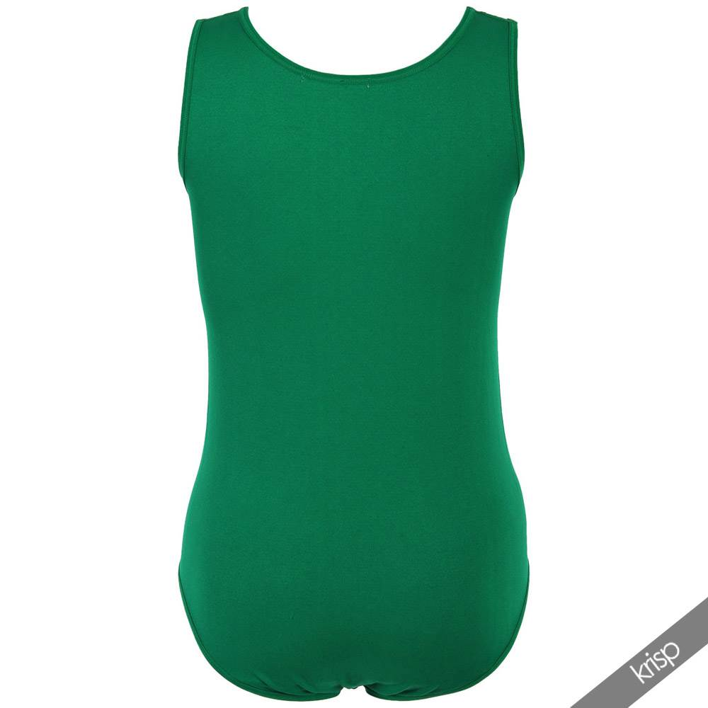 Womens Stretch Fitted Lycra Scoop Crew Neck Bodice Leotard Top