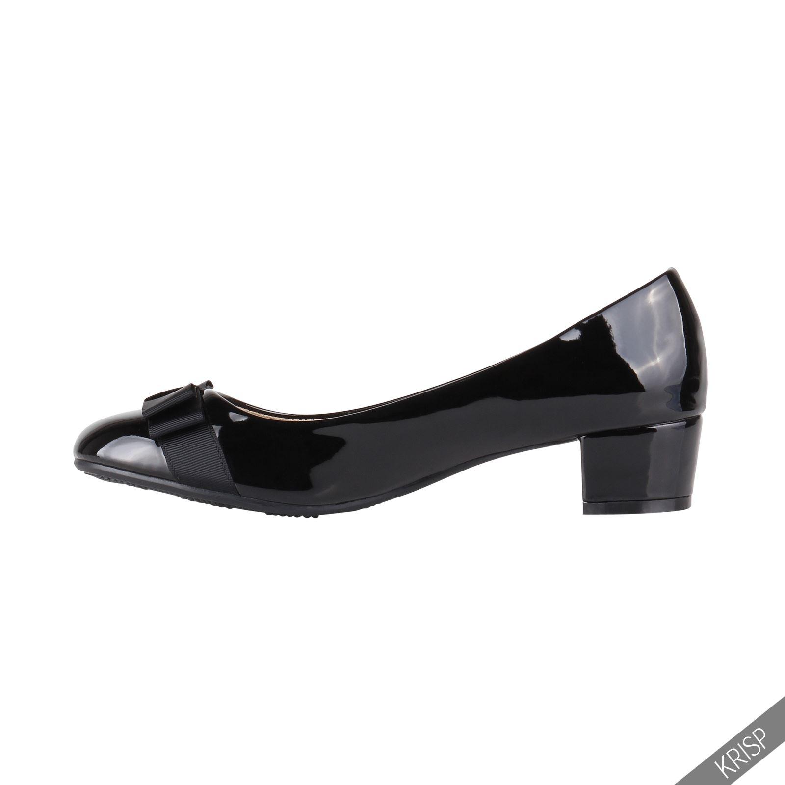 Ladies Black Patent Court Shoes