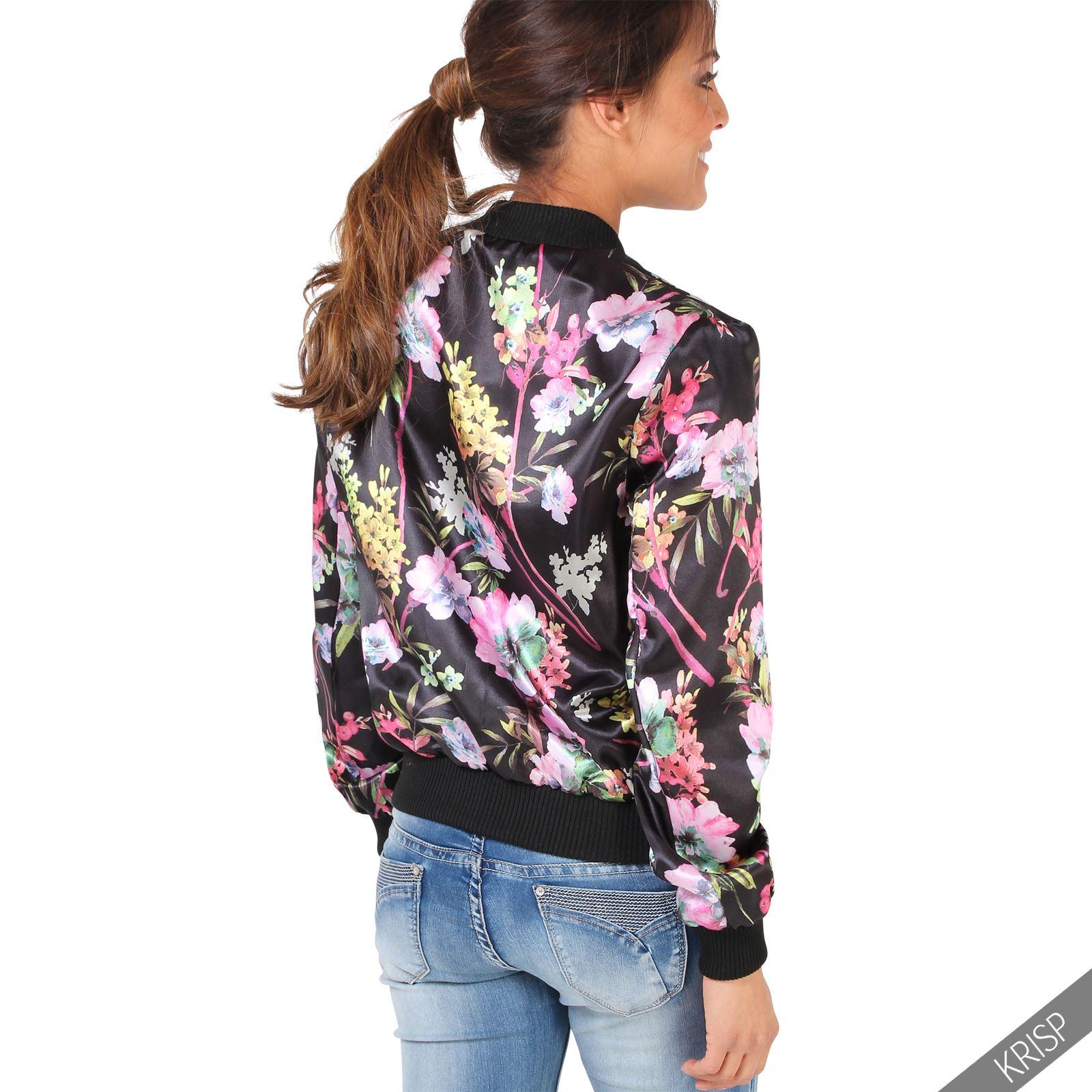 femme veste blouson fleuri zipp bomber l ger r versible nouveau ebay. Black Bedroom Furniture Sets. Home Design Ideas