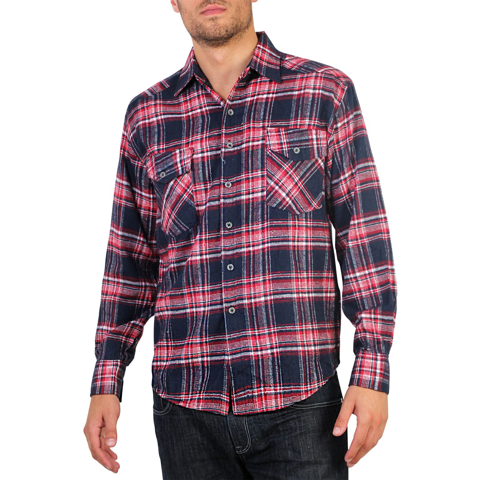 Mens flannel brushed cotton lumberjack check long sleeve for How to wear men s flannel shirts