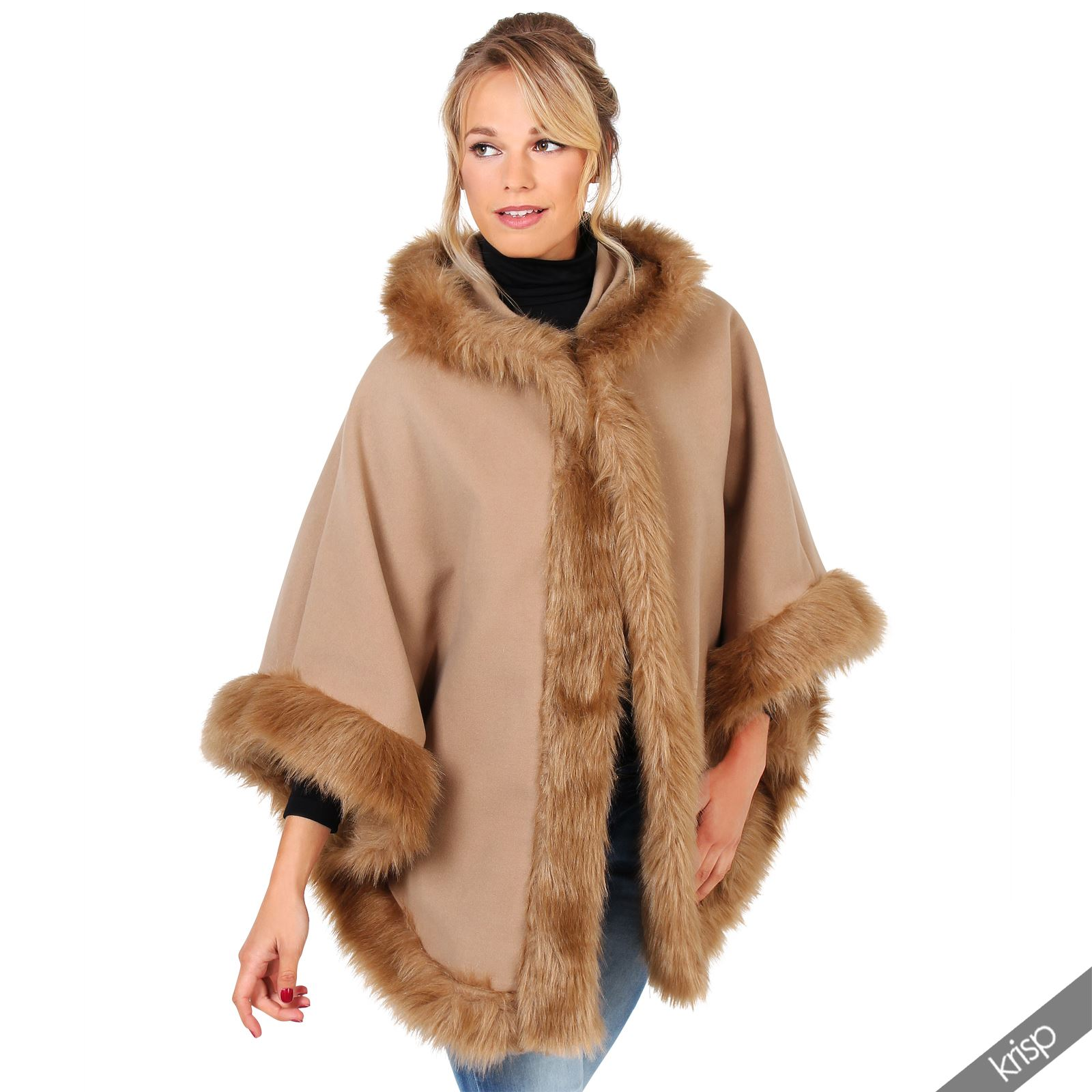 damen cape mantel jacke fell besatz kapuze hoodie poncho. Black Bedroom Furniture Sets. Home Design Ideas