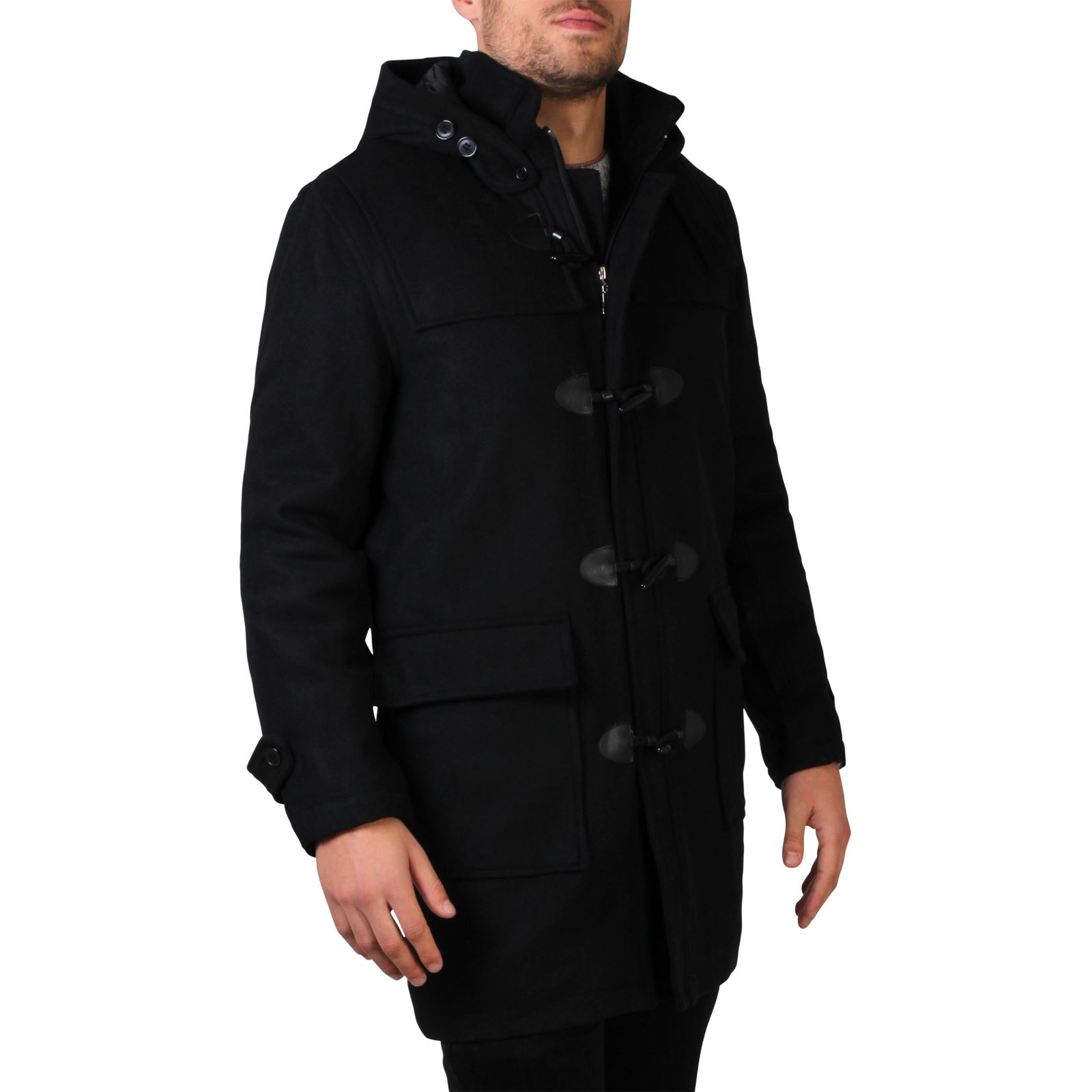 Mens Warm Wool Removable Hood Zip Toggle Hooded Duffle Coat Long ...