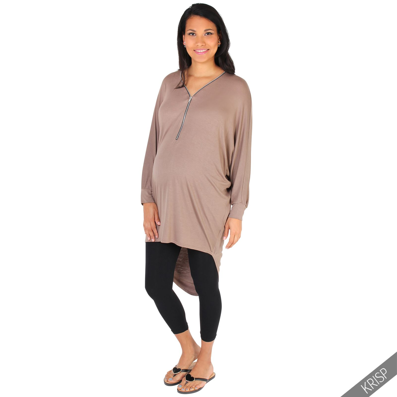 Maternity Womens Oversize V Neck Top Long Sleeve Pregnancy