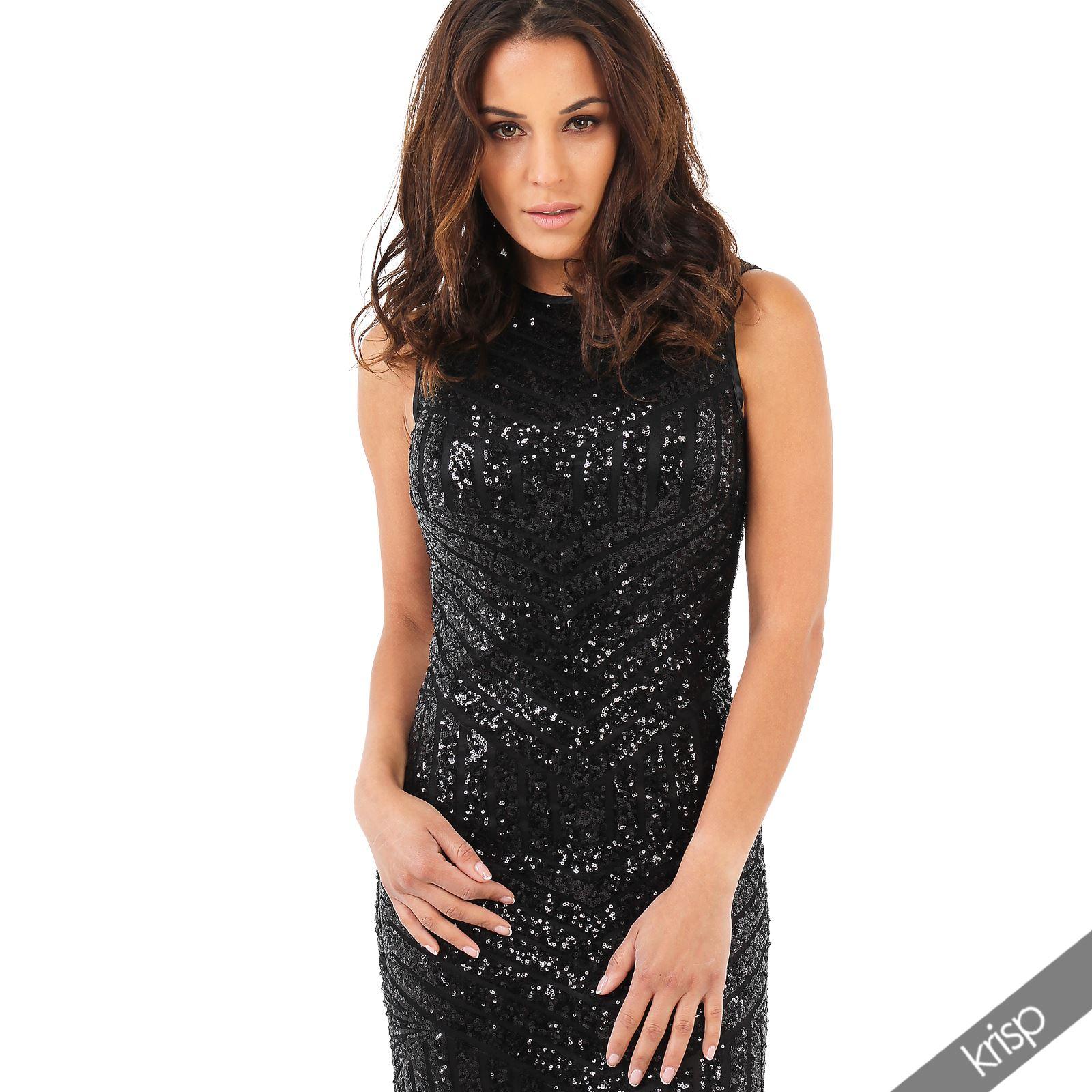 Damen Kleid Extra Lang Pailletten Cocktailkleid Ballkleid Gold ...