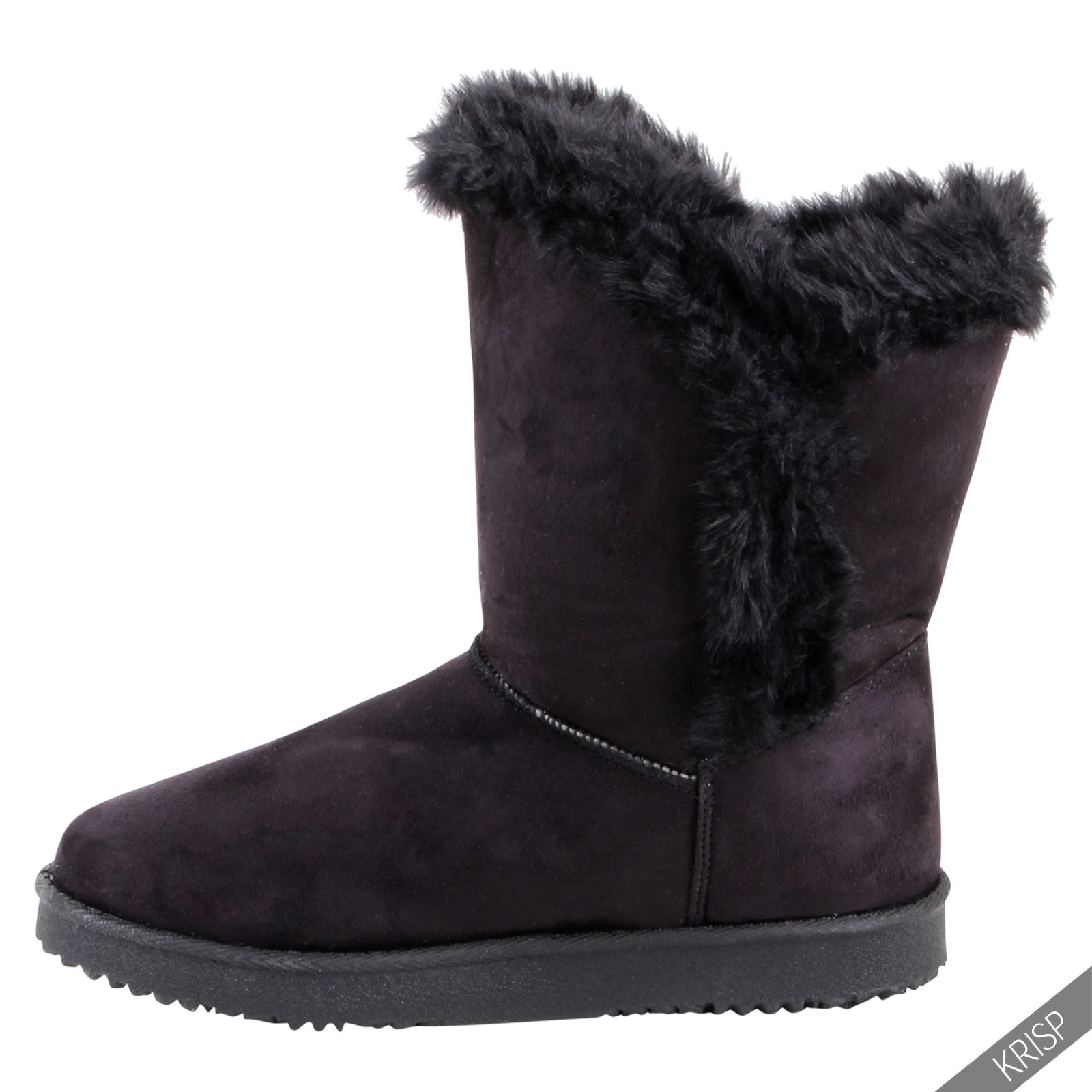 womens warm fur lined snug ankle calf boots flat