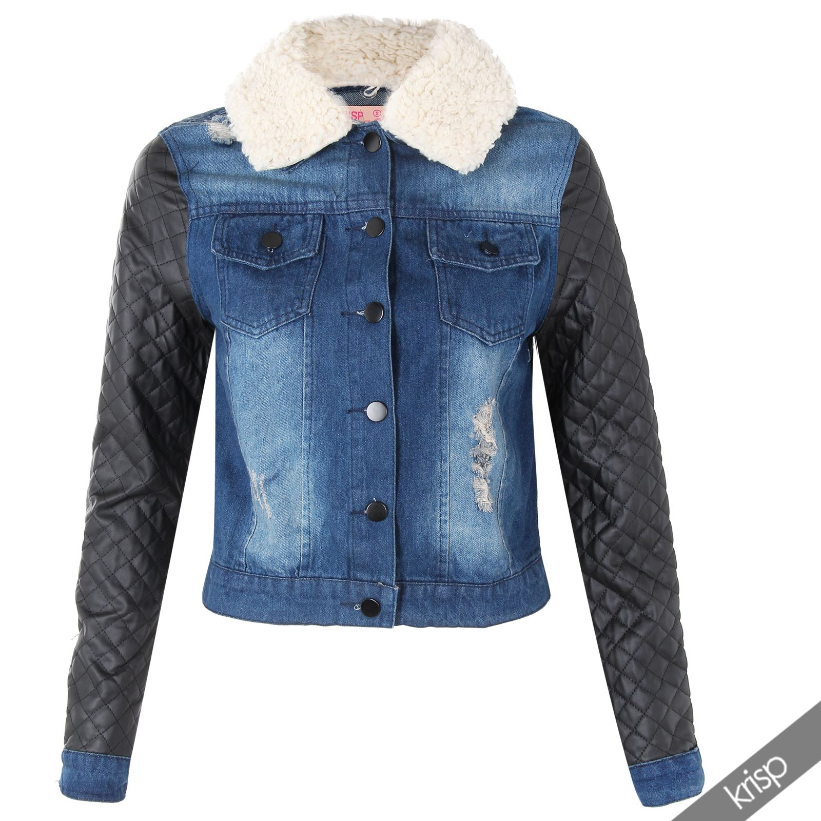 krisp damen jeansjacke denim jeans jacke bikerjacke. Black Bedroom Furniture Sets. Home Design Ideas
