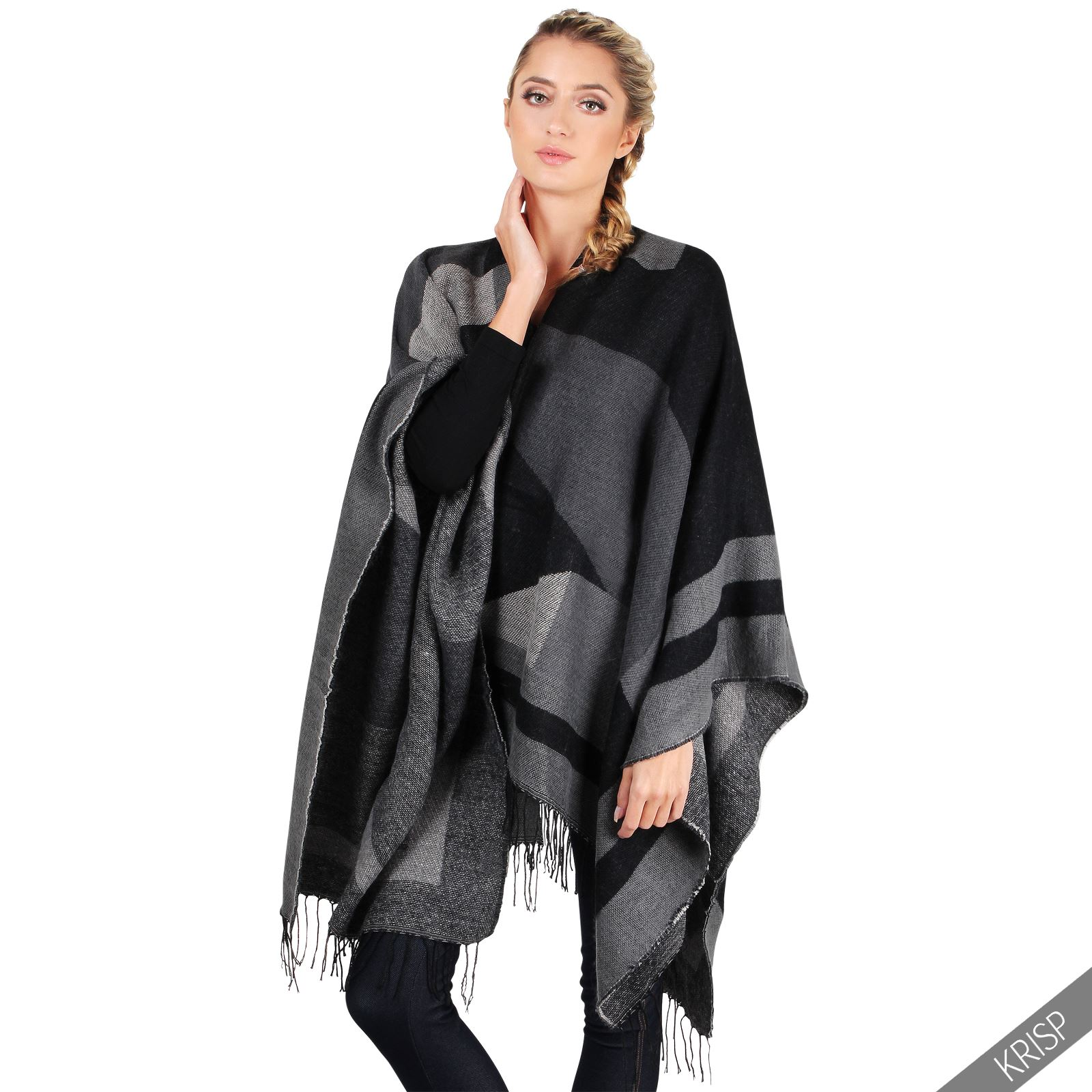 femmes cape poncho gilet long chaude echarpe tour de cou plaid chaud hiver ebay. Black Bedroom Furniture Sets. Home Design Ideas