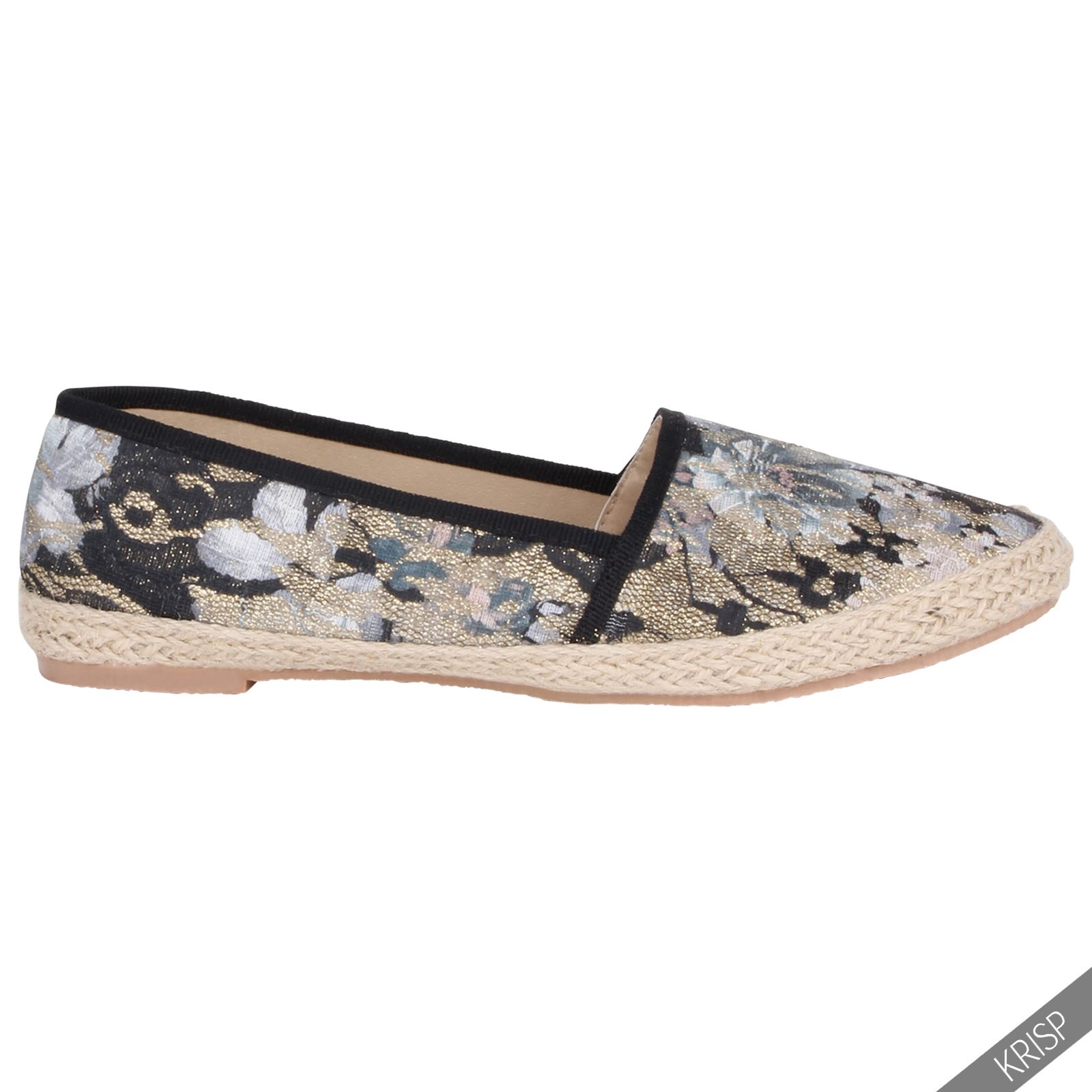 damen espadrilles comfort schuhe blumenmuster gold spitze slipper flach sommer ebay. Black Bedroom Furniture Sets. Home Design Ideas
