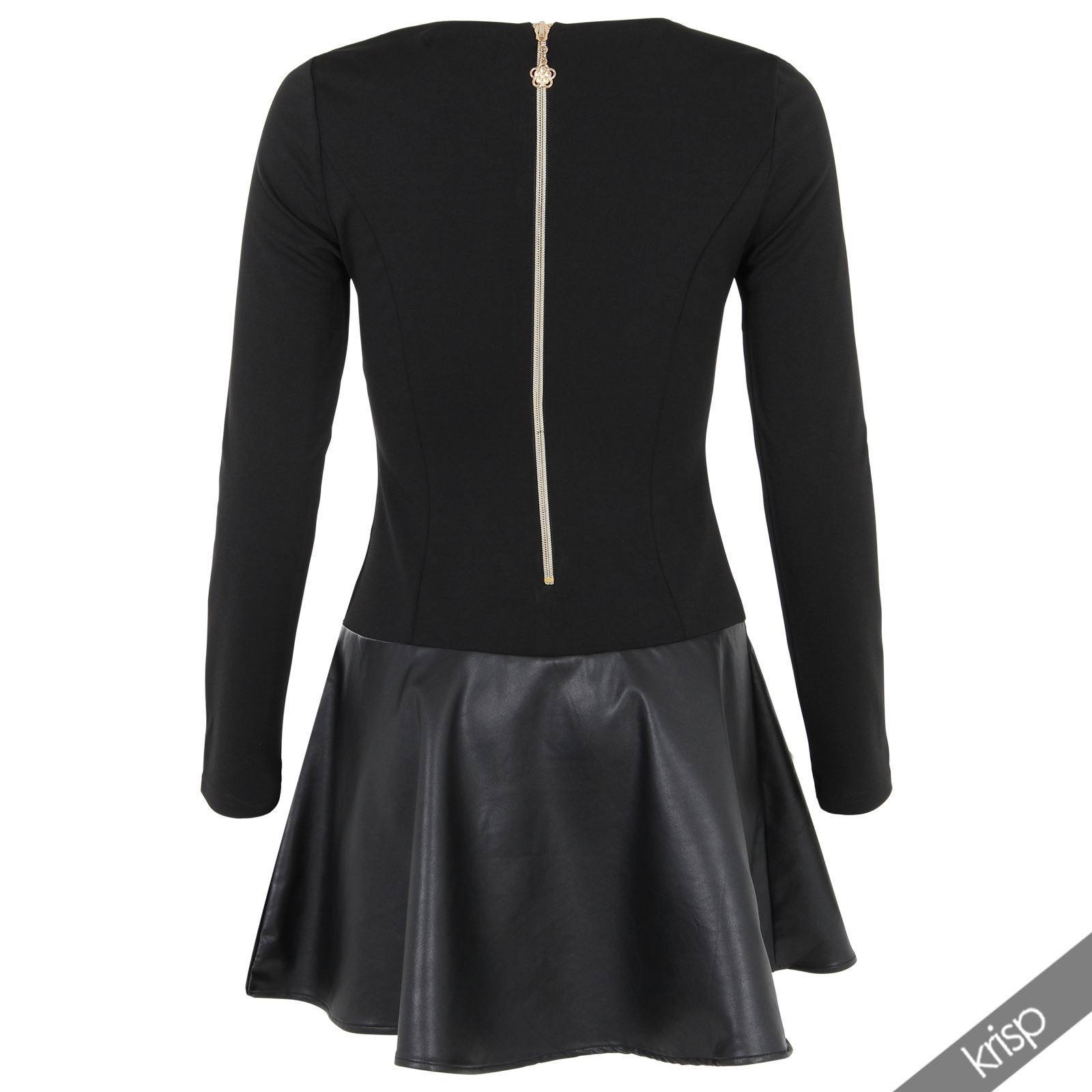krisp damen kurzes kleid langarm leder stoff skater kleid top mini lederkleid ebay. Black Bedroom Furniture Sets. Home Design Ideas