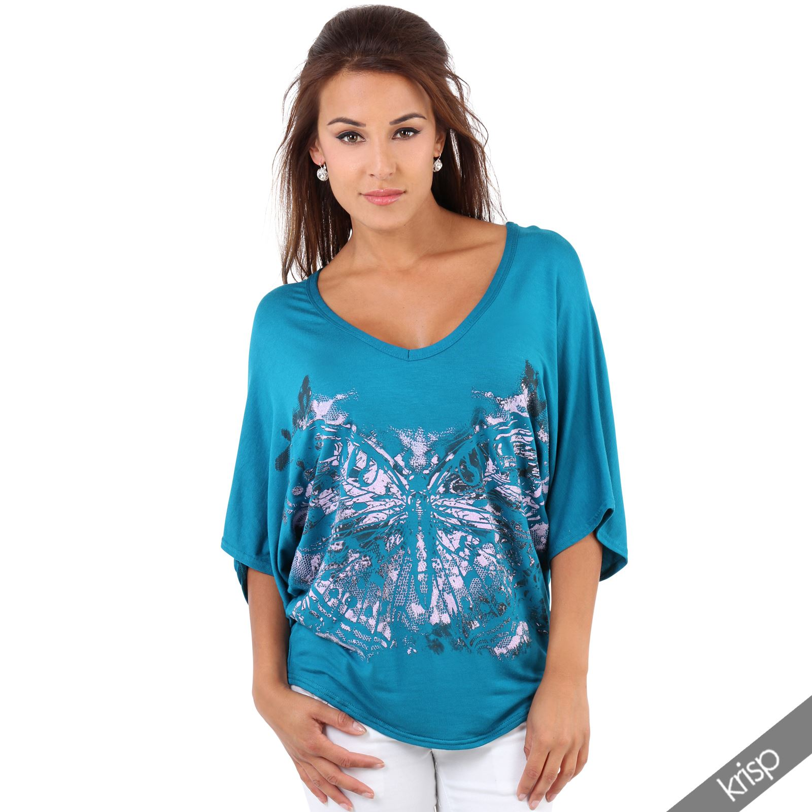 Women shiny glitter butterfly oversized batwing top t for Best t shirts for summer