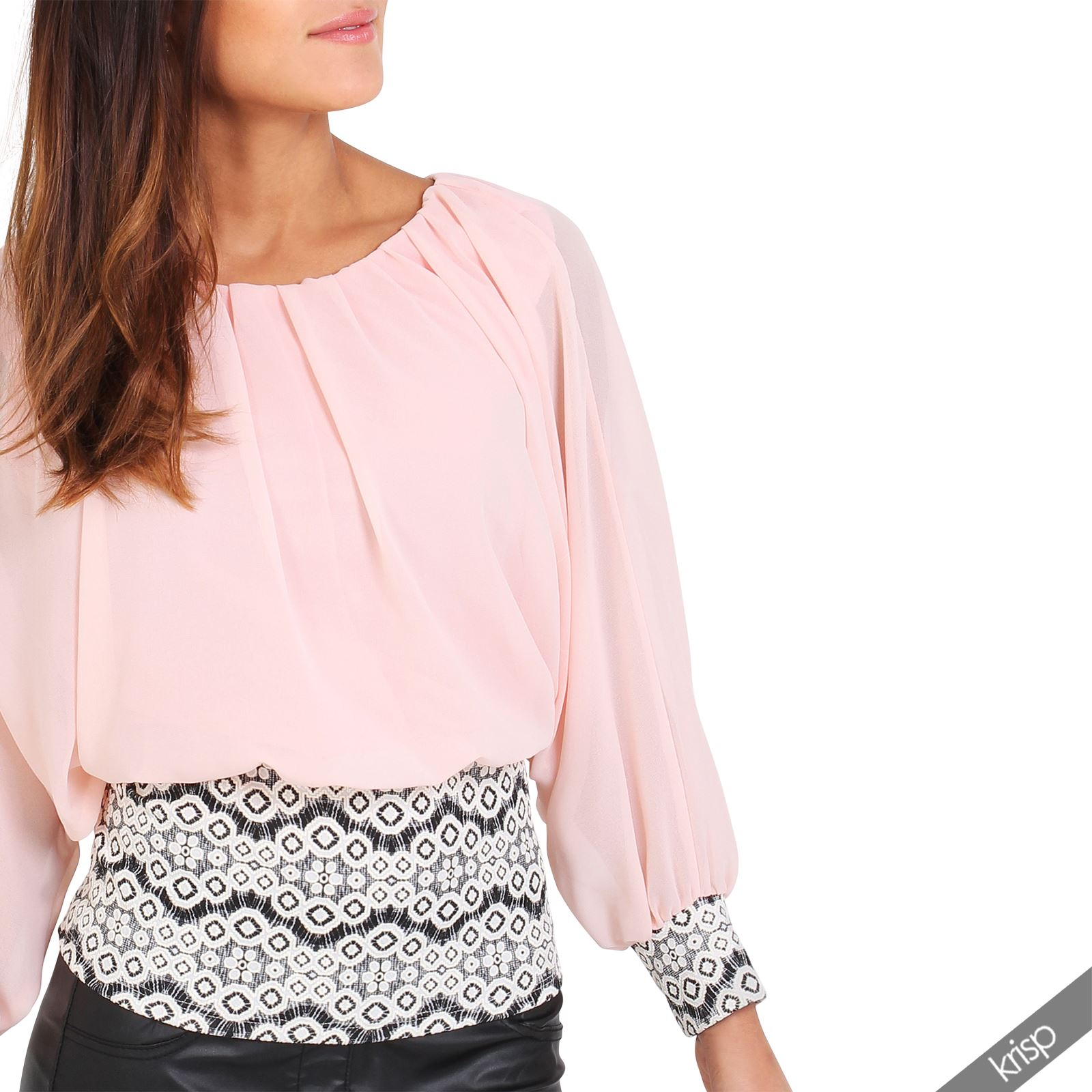 Femme top haut blouse contraste mousseline piss glamour sexy ebay - Haut sexy femme ...