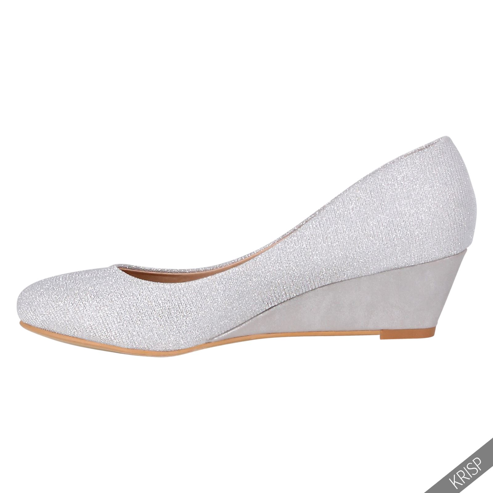 womens plain wedge court shoes low mid high heel slip on