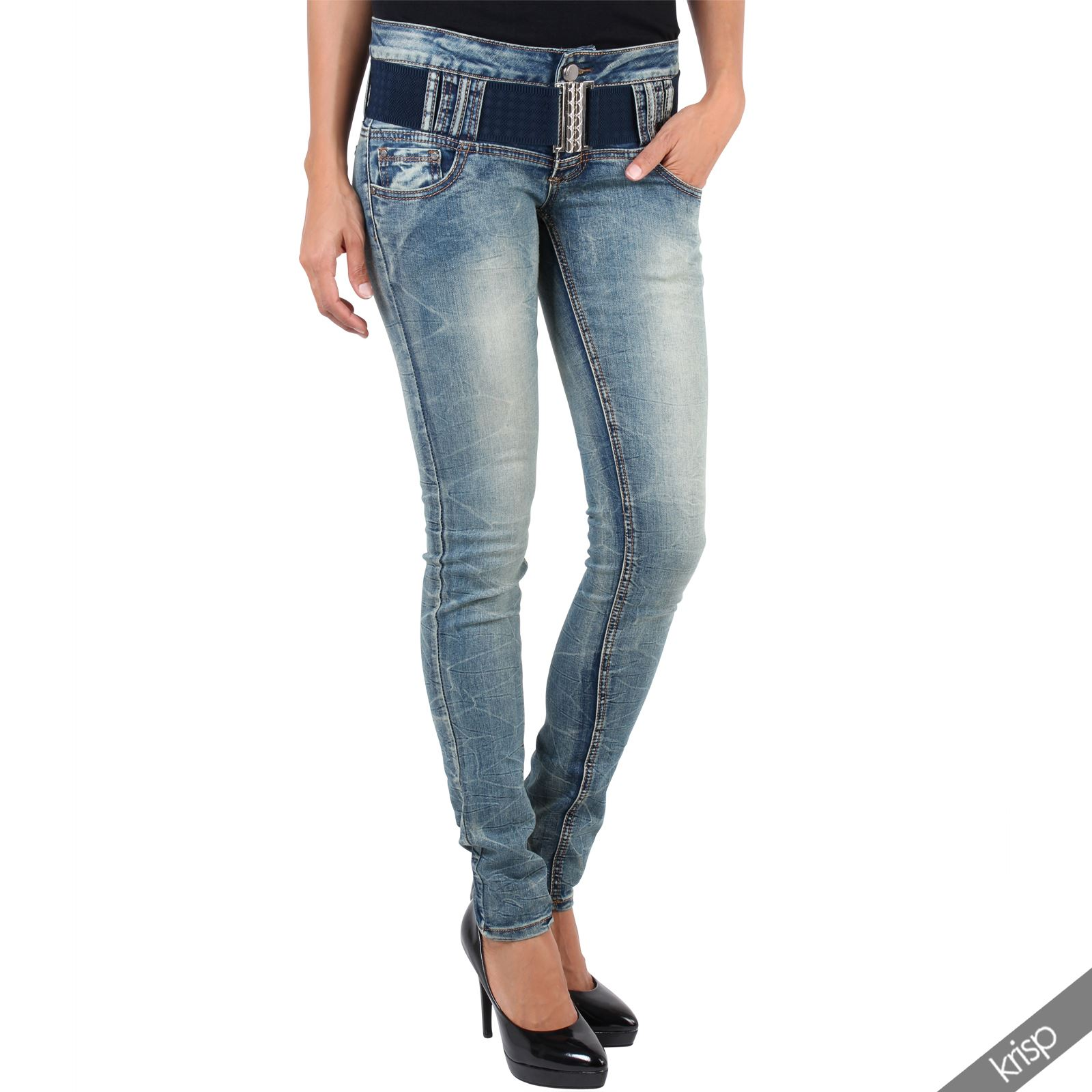 damen jeans mit stretch g rtel slim fit skinny h fthose. Black Bedroom Furniture Sets. Home Design Ideas