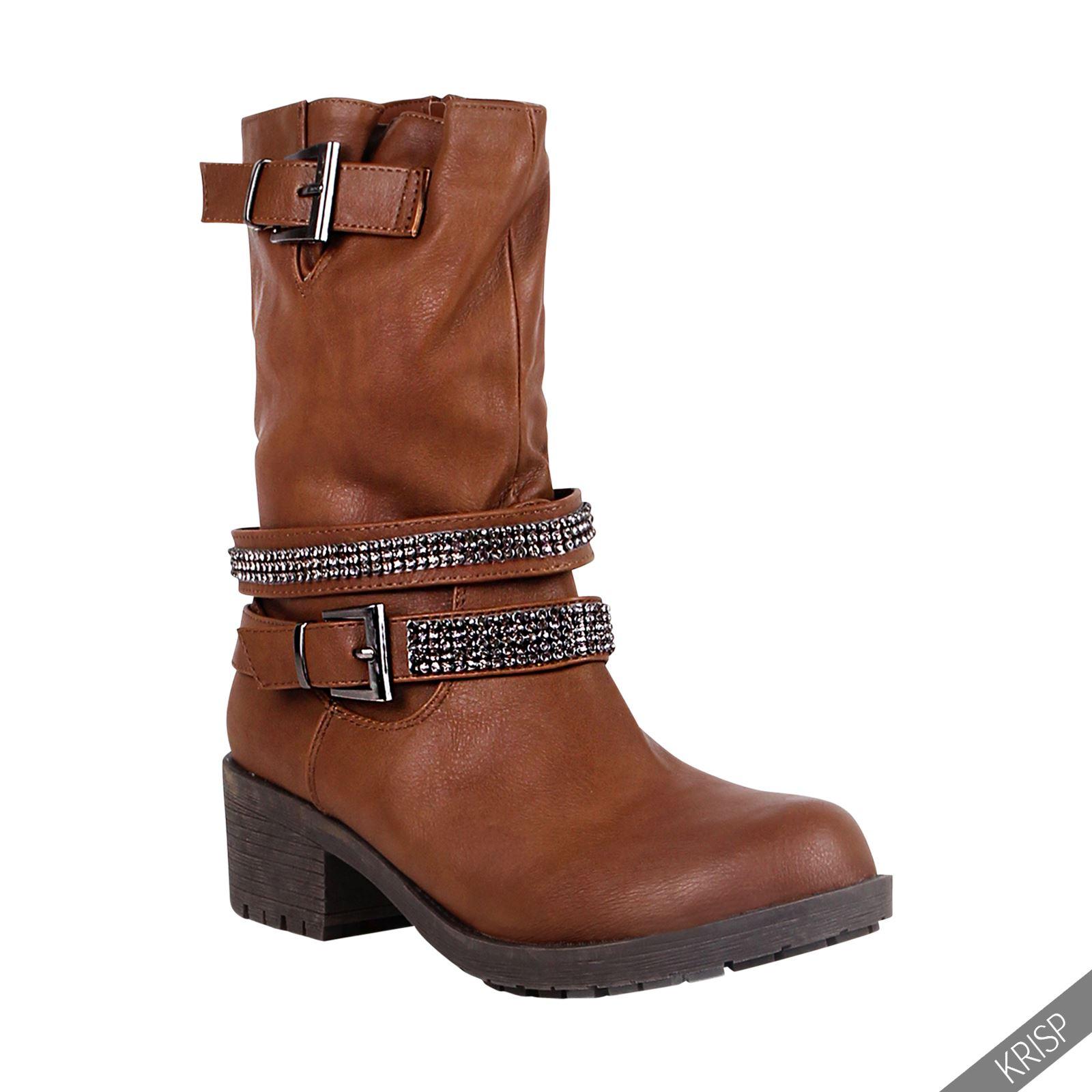 femmes bottes low boots rembourr es talon carr strass. Black Bedroom Furniture Sets. Home Design Ideas