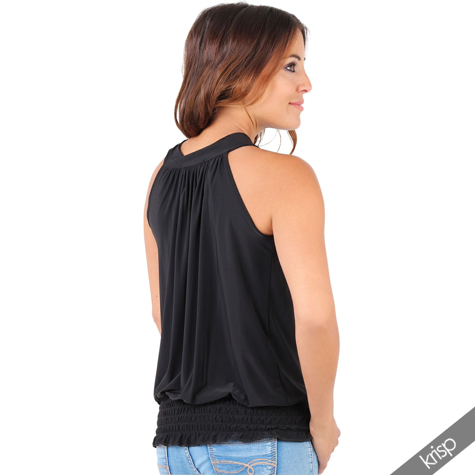 Women Ladies Pleated Coloured Halter Neck Ruched Sexy Top Blouse