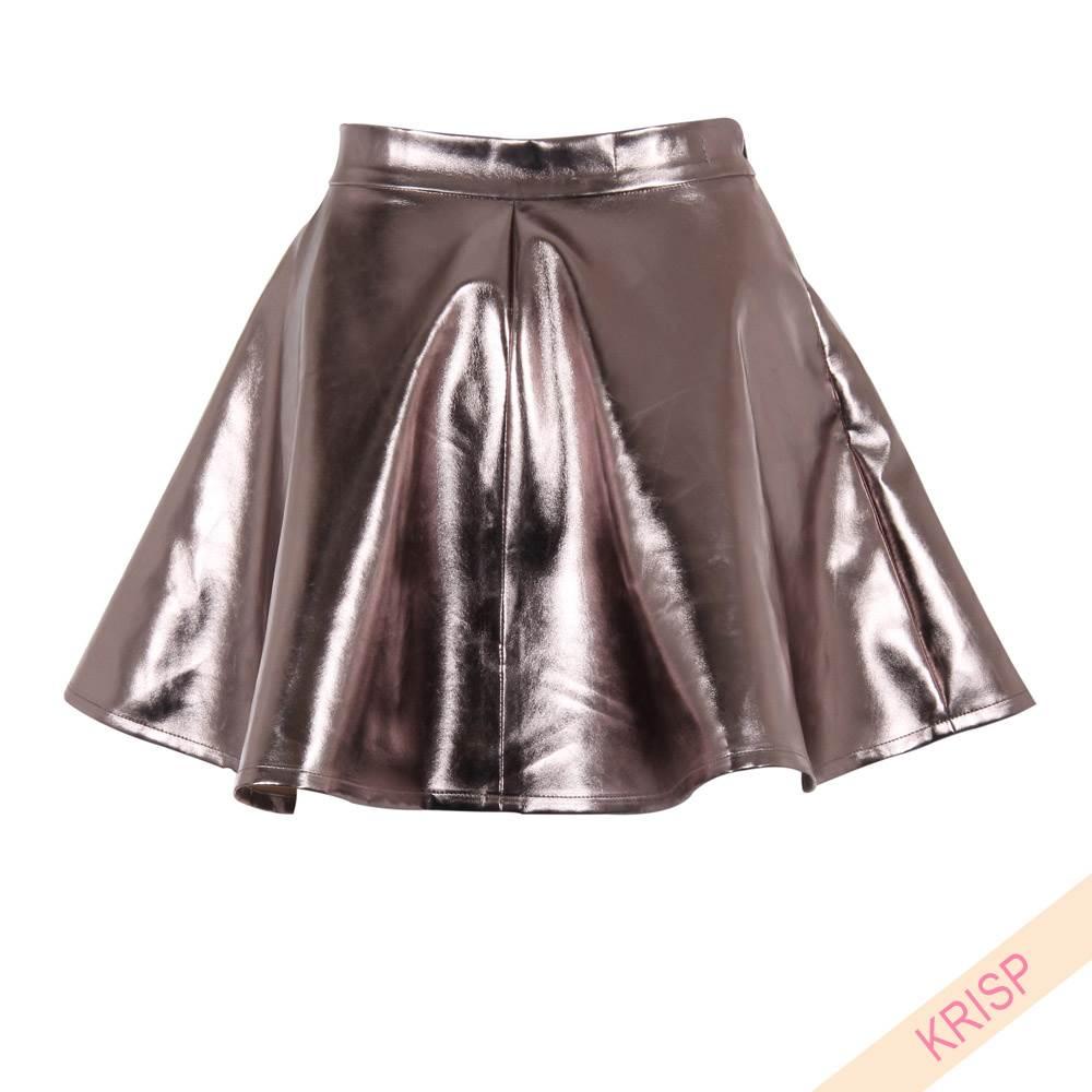 pu pvc pleated flared flippy shiny metallic high waist