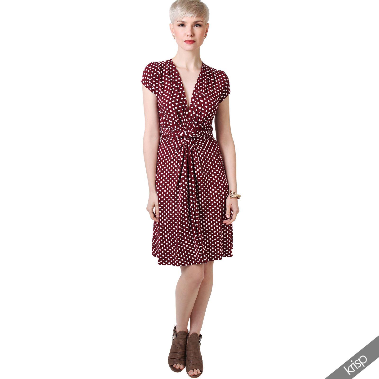 Women sexy v neck polka dot summer dress rockabilly shift for Rockabilly outfit damen