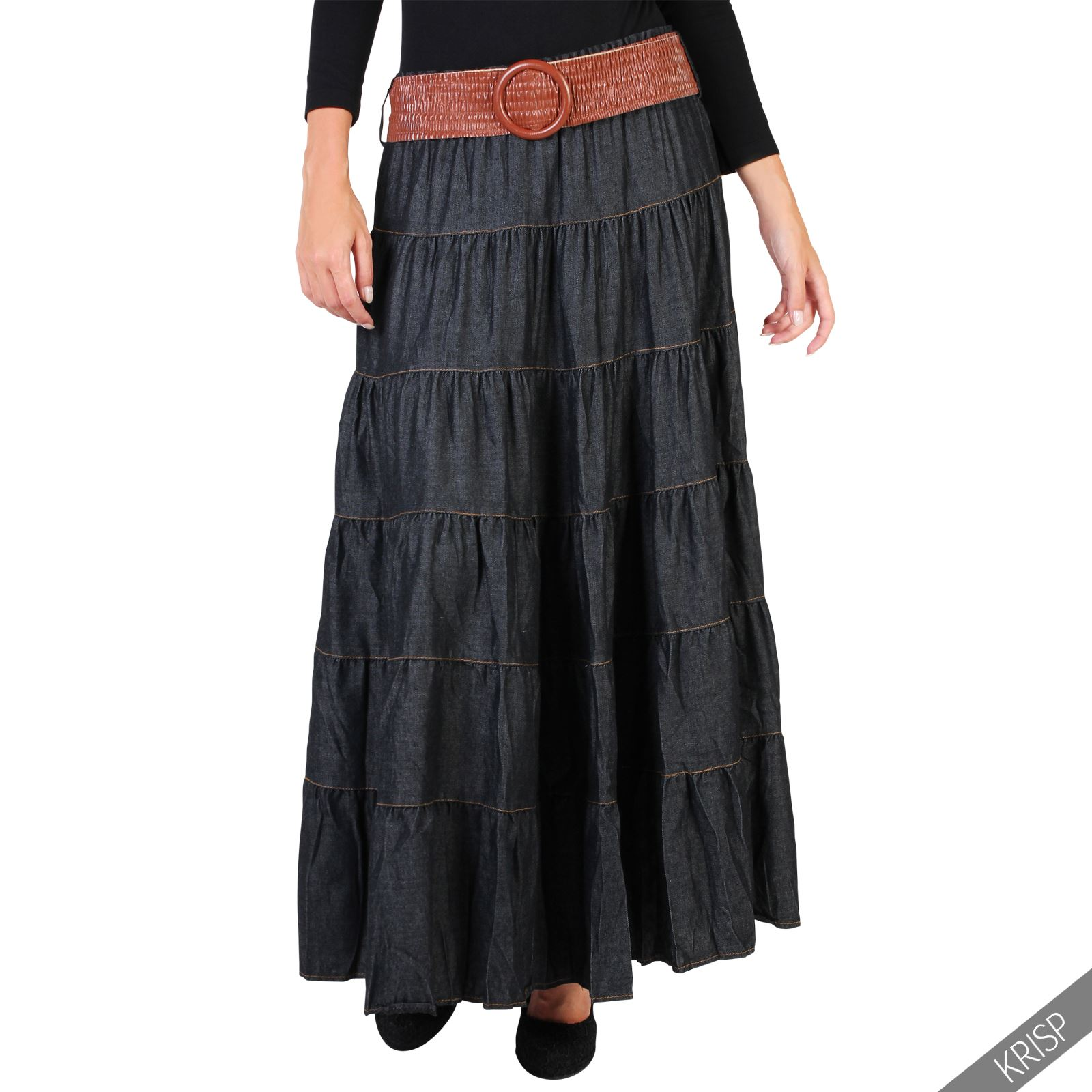 Womens Ladies Tiered Casual Boho Vintage Belt Denim Maxi ...