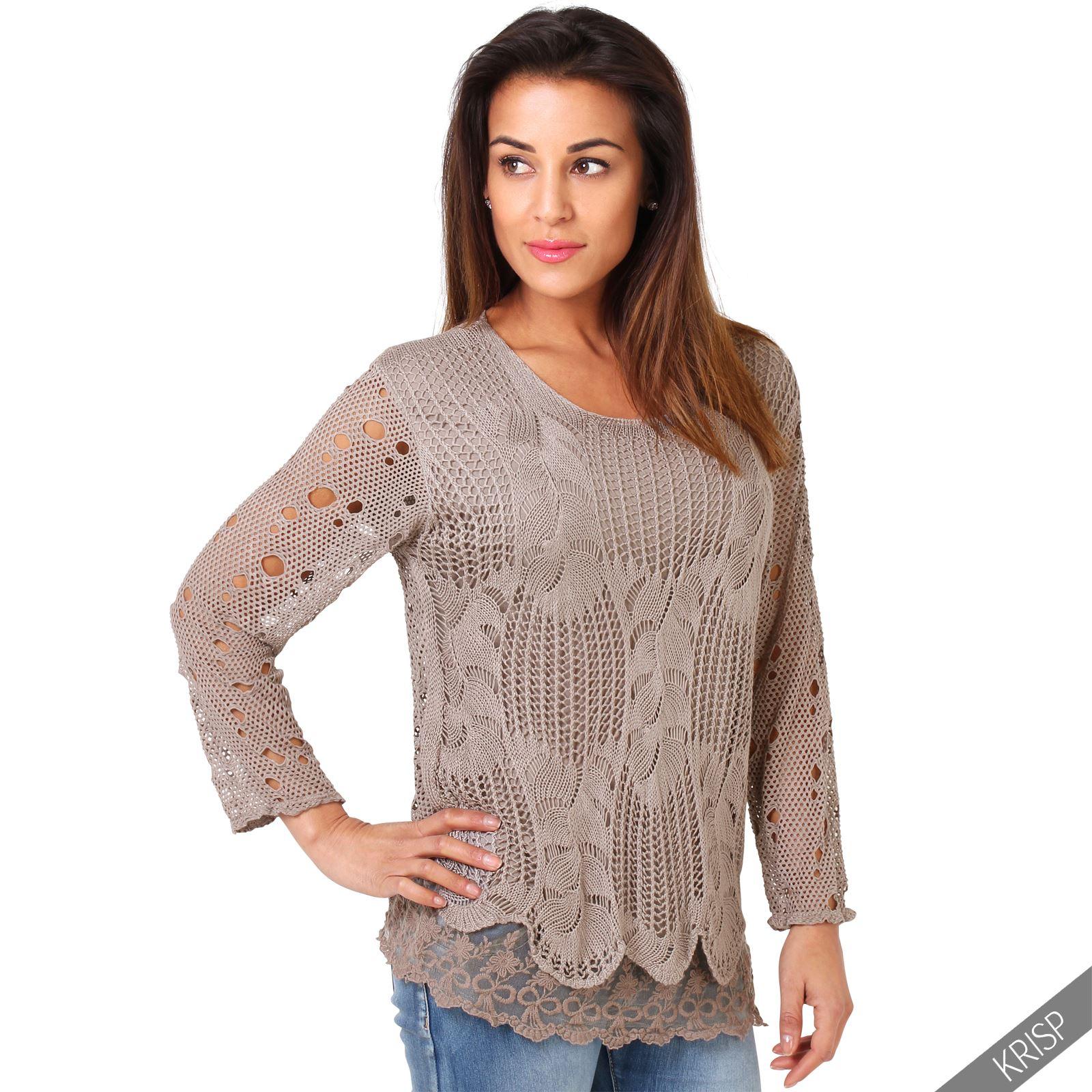 Knitting Summer Blouses : Womens summer retro crochet knit casual jumper frilled