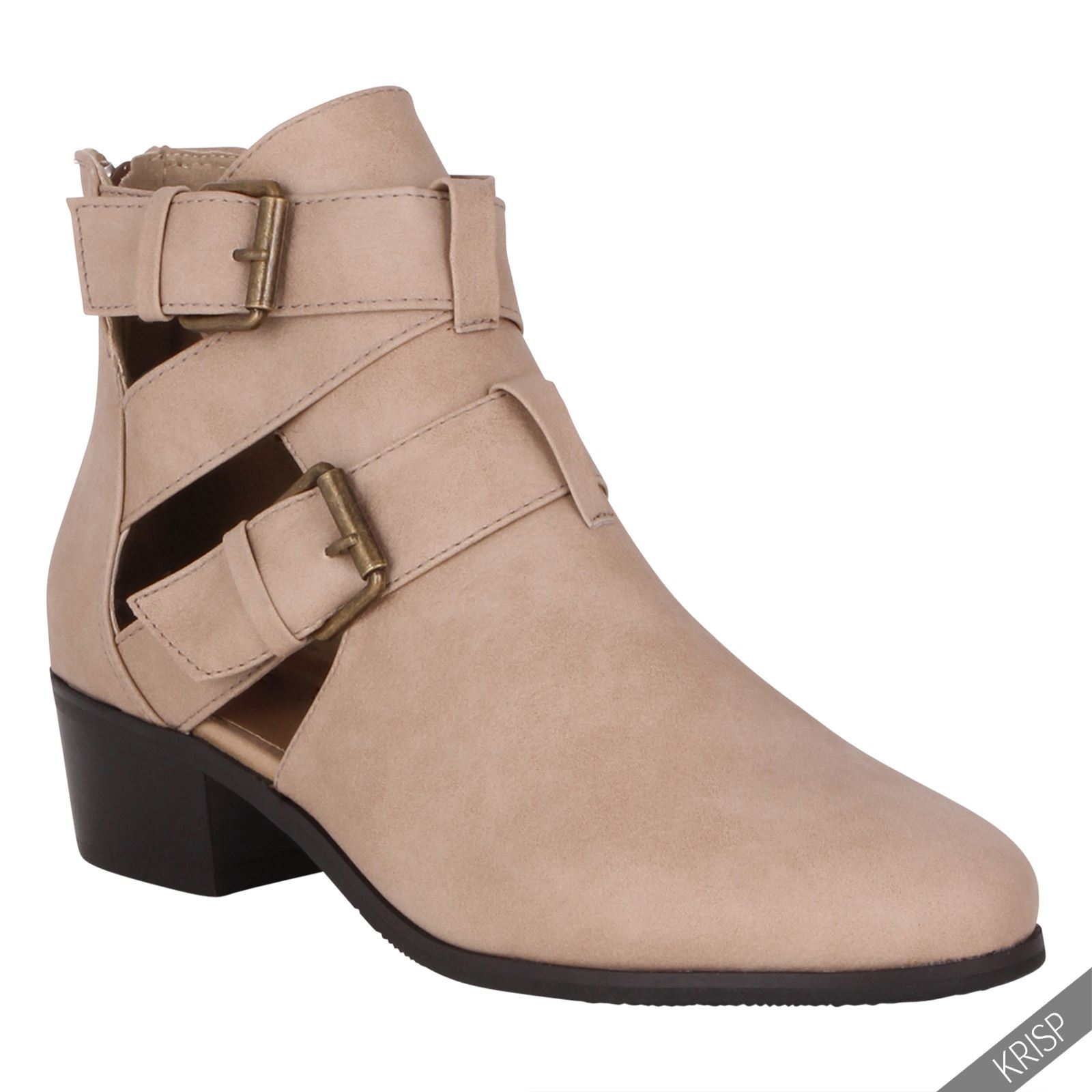 Women Cut Out Casual Low Flat Heel Buckle Ankle Boots Zip Back ...