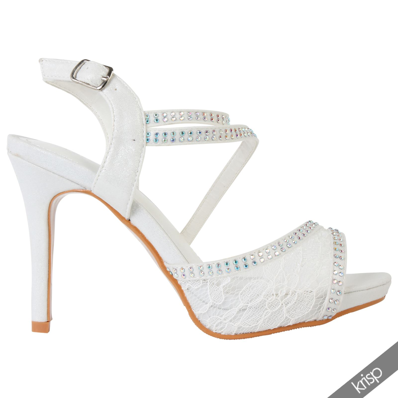 Wedding Shoe Charlotte In Ivory Lace Womens Fl Gem Stud Open P Toe Diamante