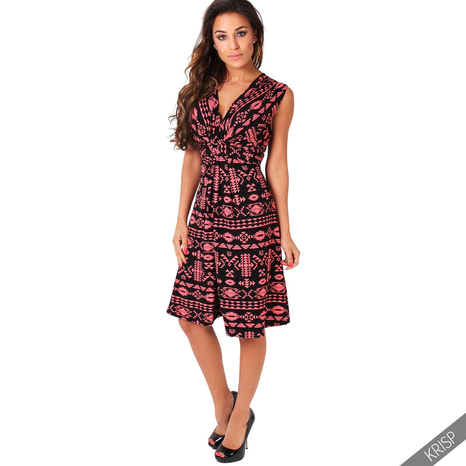 Womens Sexy Aztec Print Summer Dress Sleeveless Sundress ...