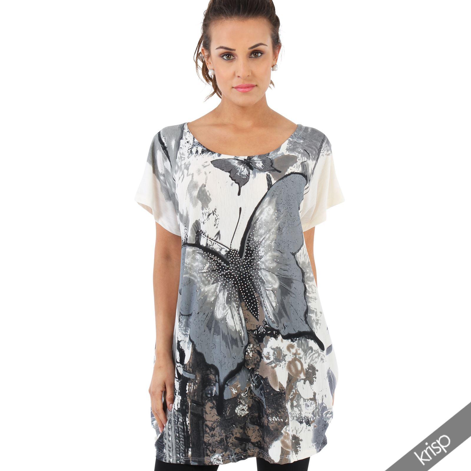 damen oversize t shirt mit strass schmetterlingsmotiv bluse tunika longtop ebay. Black Bedroom Furniture Sets. Home Design Ideas