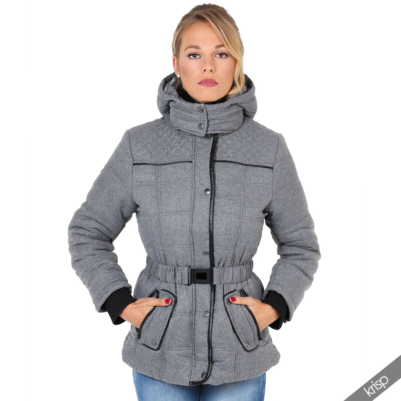 Women Padded Fur Collar Belted Hooded Puffer Puffa Jacket Parka Coat Warm Winter