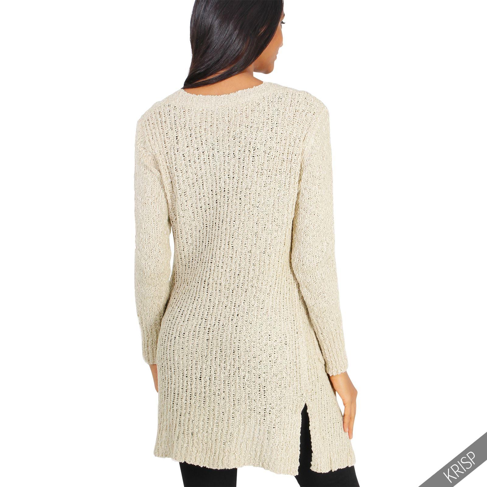 Femmes cardigan manches longues gilet long maille epais pull tricot tendance ebay - Cardigan long femme ...