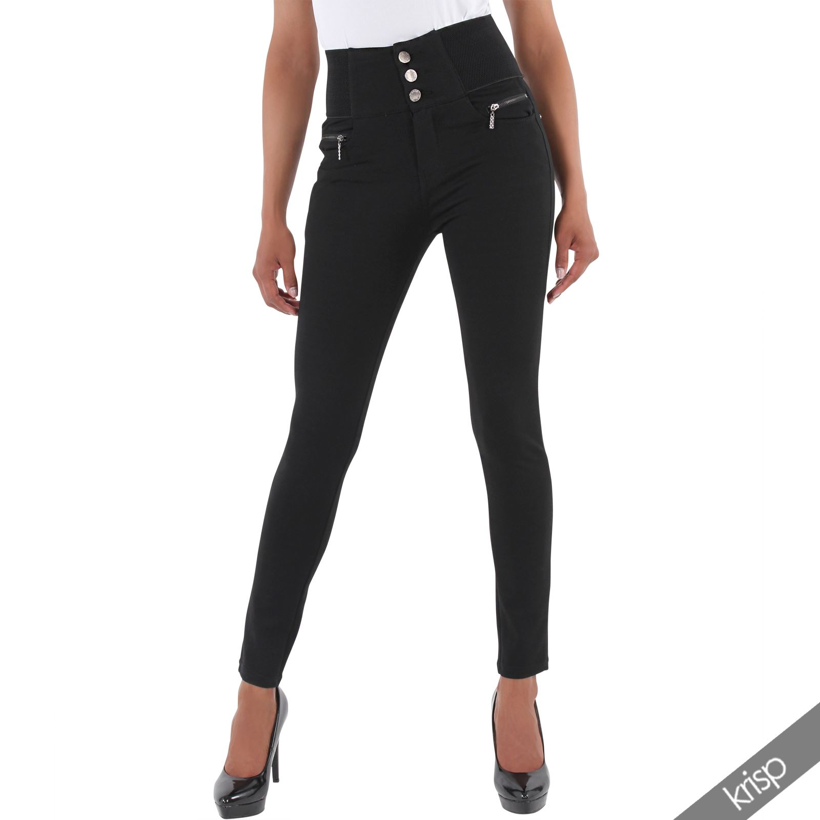 damen stretch hose mit hohem bund jeggings leggings slim. Black Bedroom Furniture Sets. Home Design Ideas
