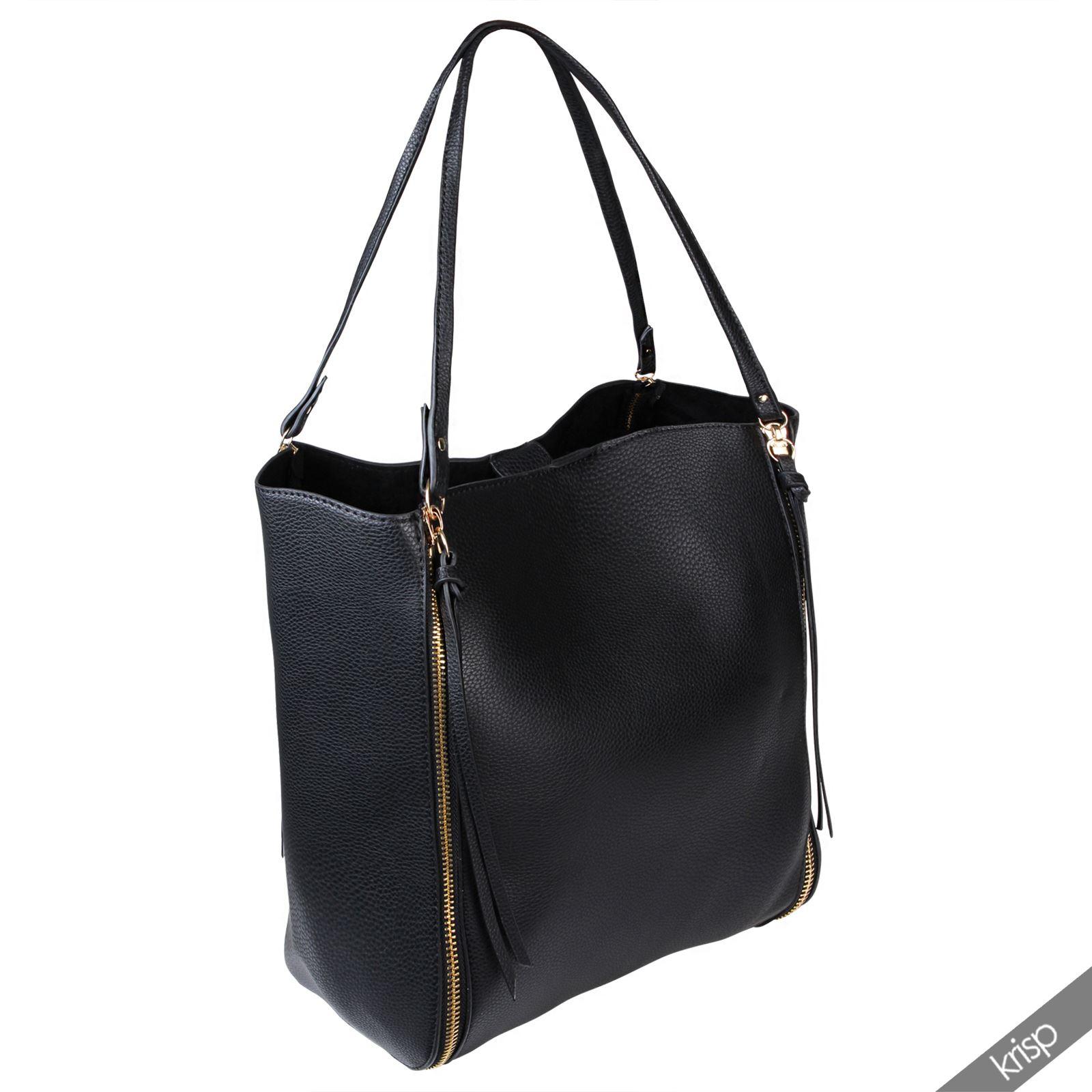 womens zipper tassel leather shopper hobo bag large tote. Black Bedroom Furniture Sets. Home Design Ideas