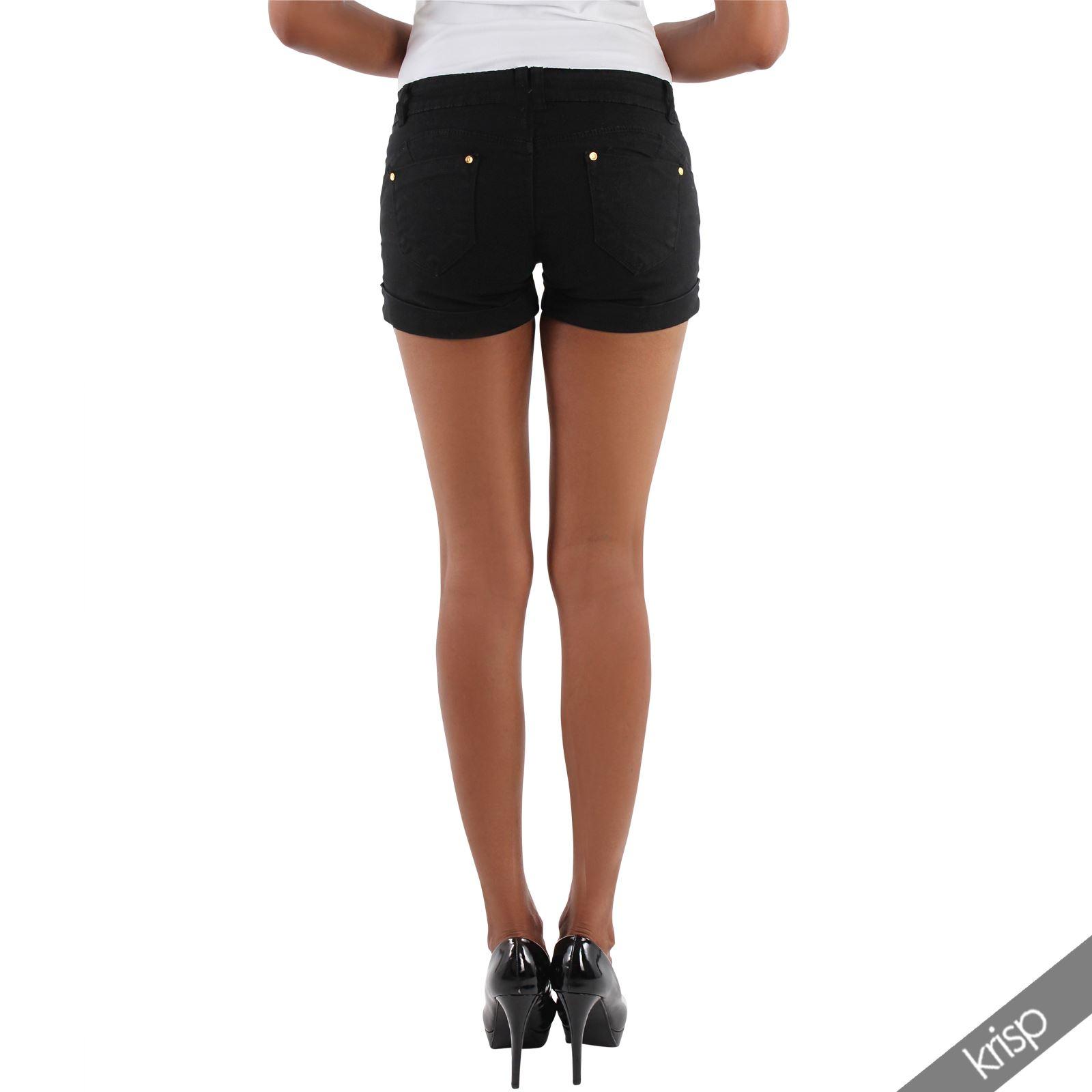 damen shorts kurze hose mit pailletten stretch hot pants. Black Bedroom Furniture Sets. Home Design Ideas