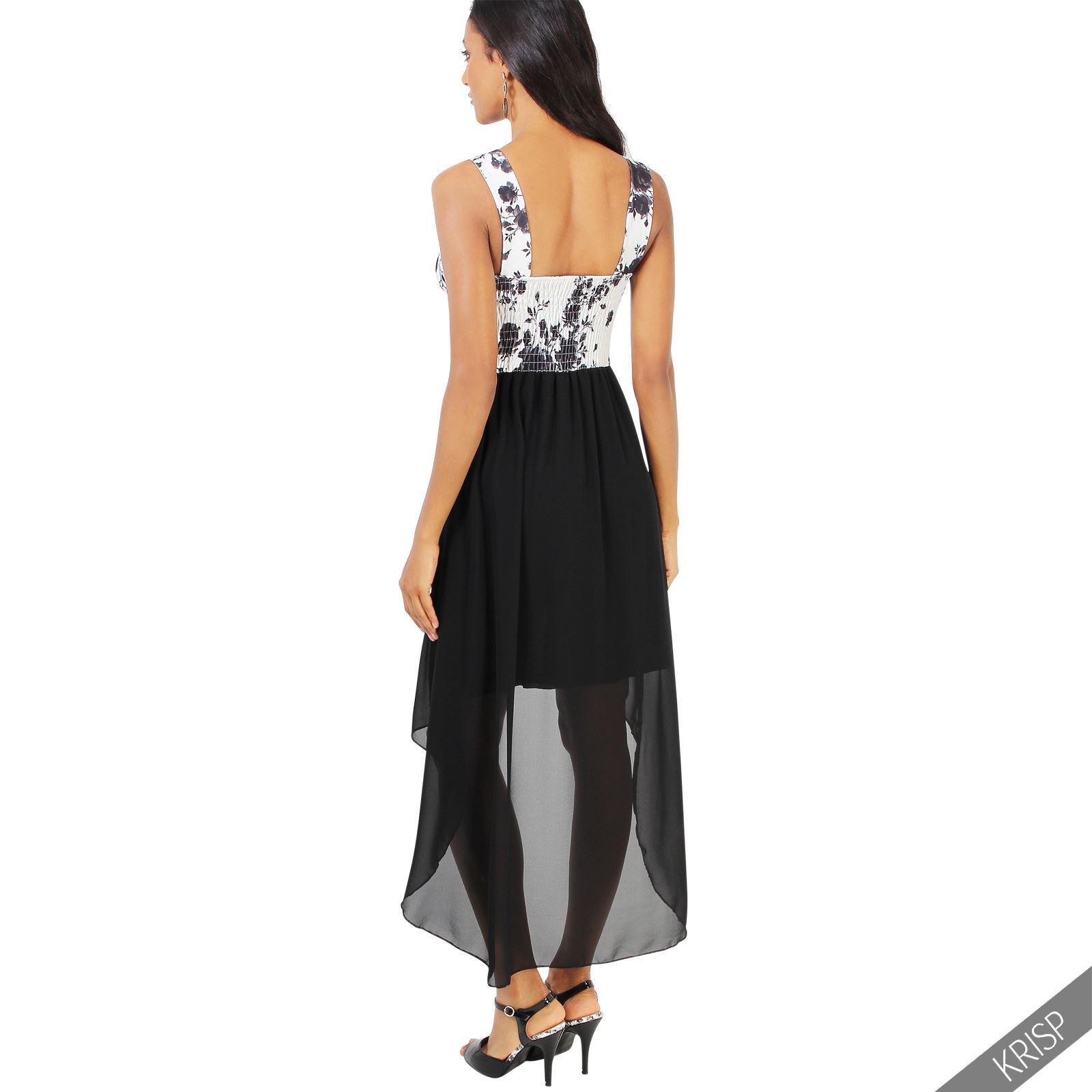Damen sommer party kleid stretch chiffon mini midi vokuhila rock asymmetrisch ebay - Vokuhila kleid chiffon ...