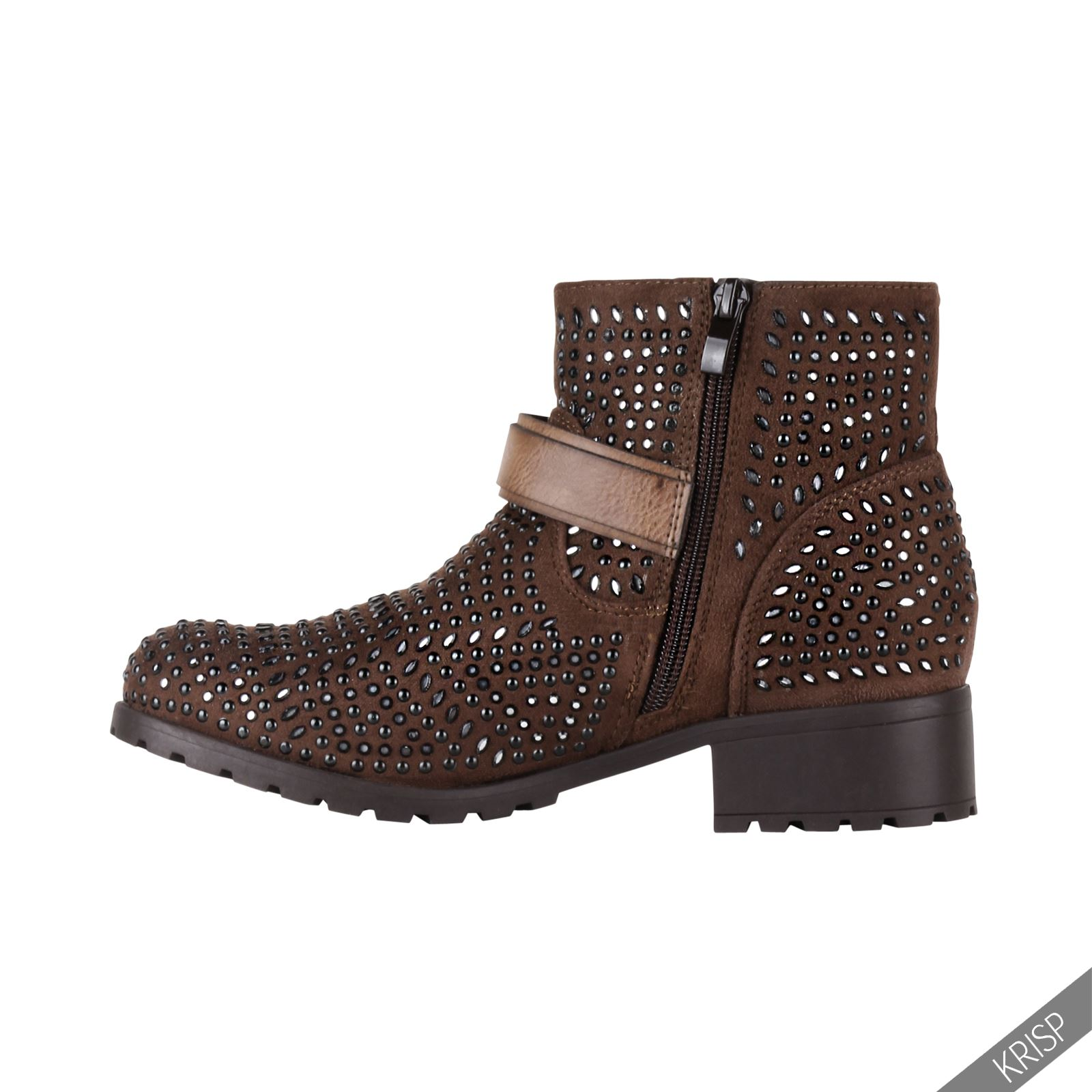 womens fashion studded ankle biker boots low heel rock