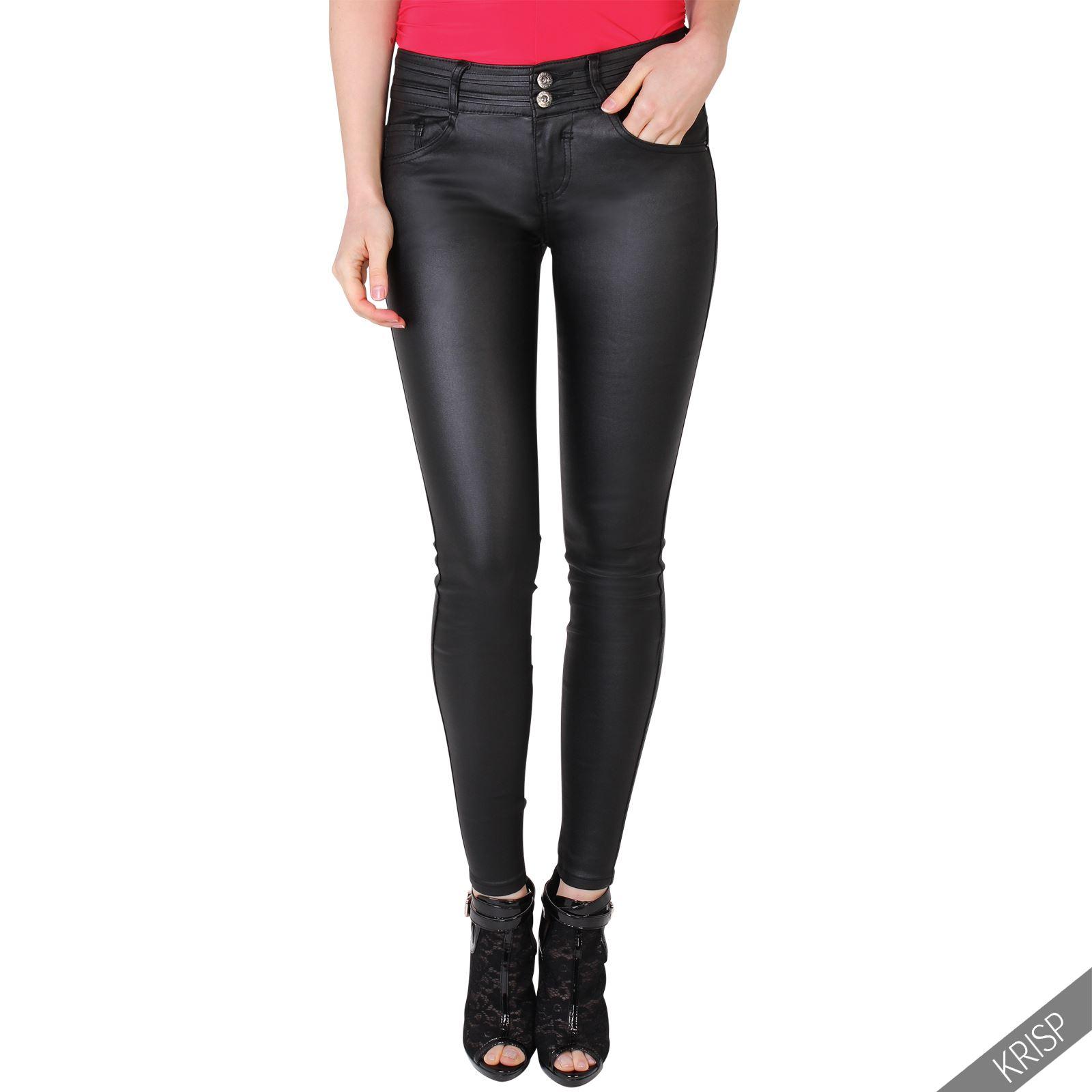Brilliant WomensWetLookPULeatherStretchSkinnySexyJeansTrousersPants