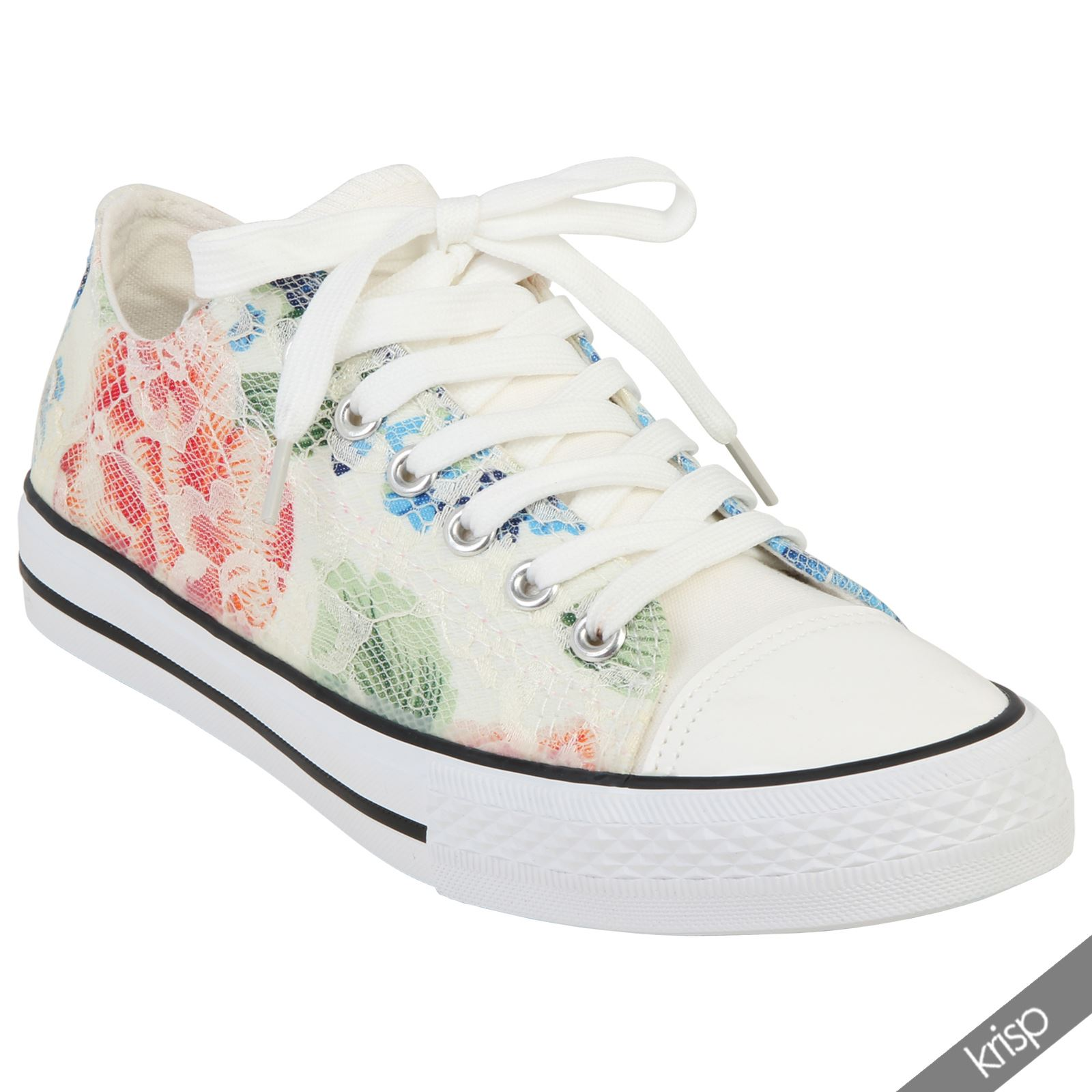 Womens Contrast Floral Lace Plimsolls Trainers Skater Shoes Low Top Pumps Summer