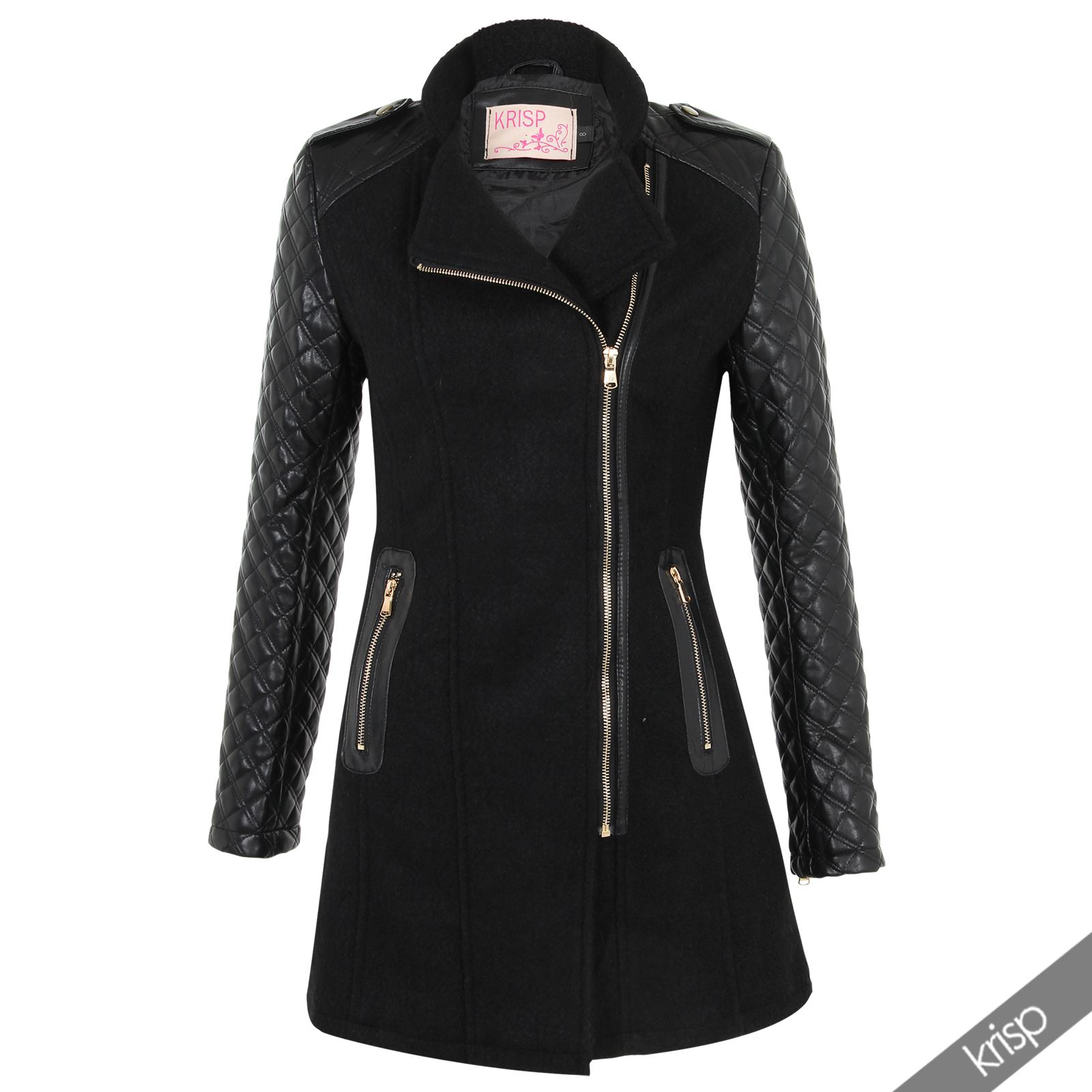 Womens Quilted PU Leather Sleeve Asymmetric Zip Fitted Wool Tweed ...