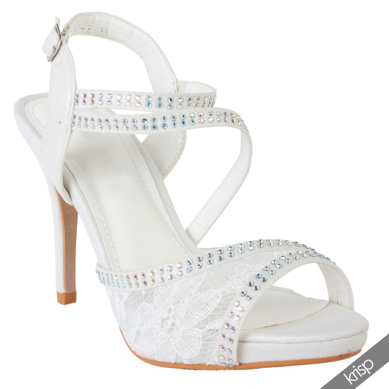 damen sandalette riemchensandale high heels mit spitze und. Black Bedroom Furniture Sets. Home Design Ideas
