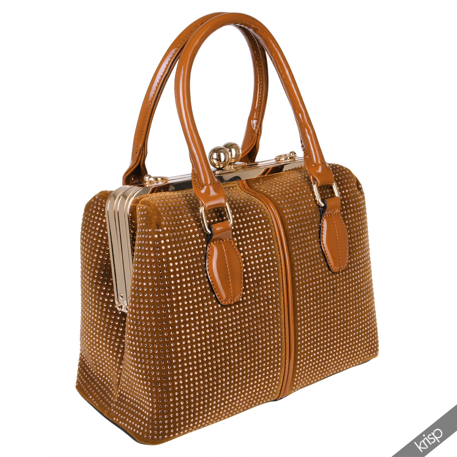 Womens Gem Studded Metal Frame Hard Case Hand Bag Velvet Tote AU