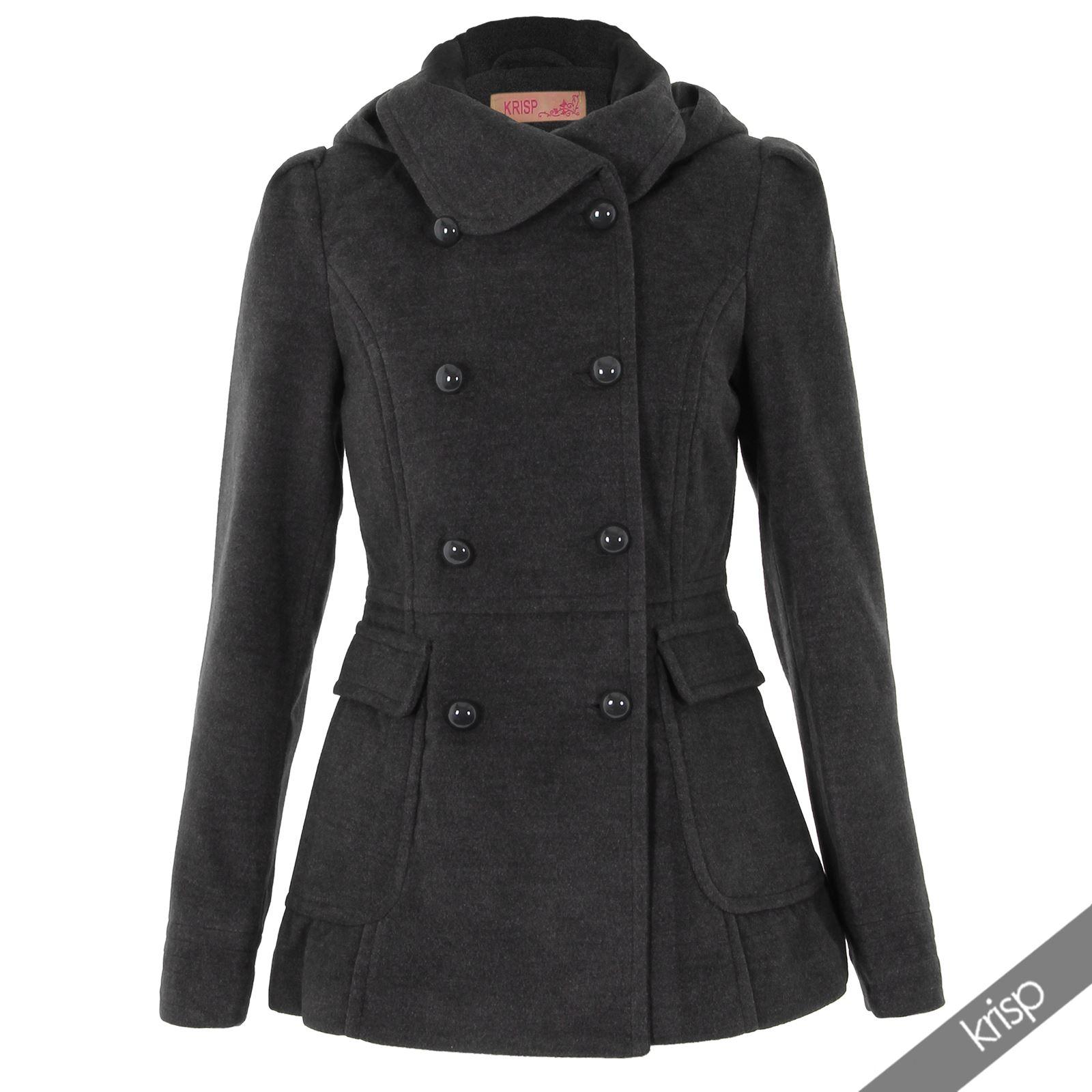 Womens hooded wool coat