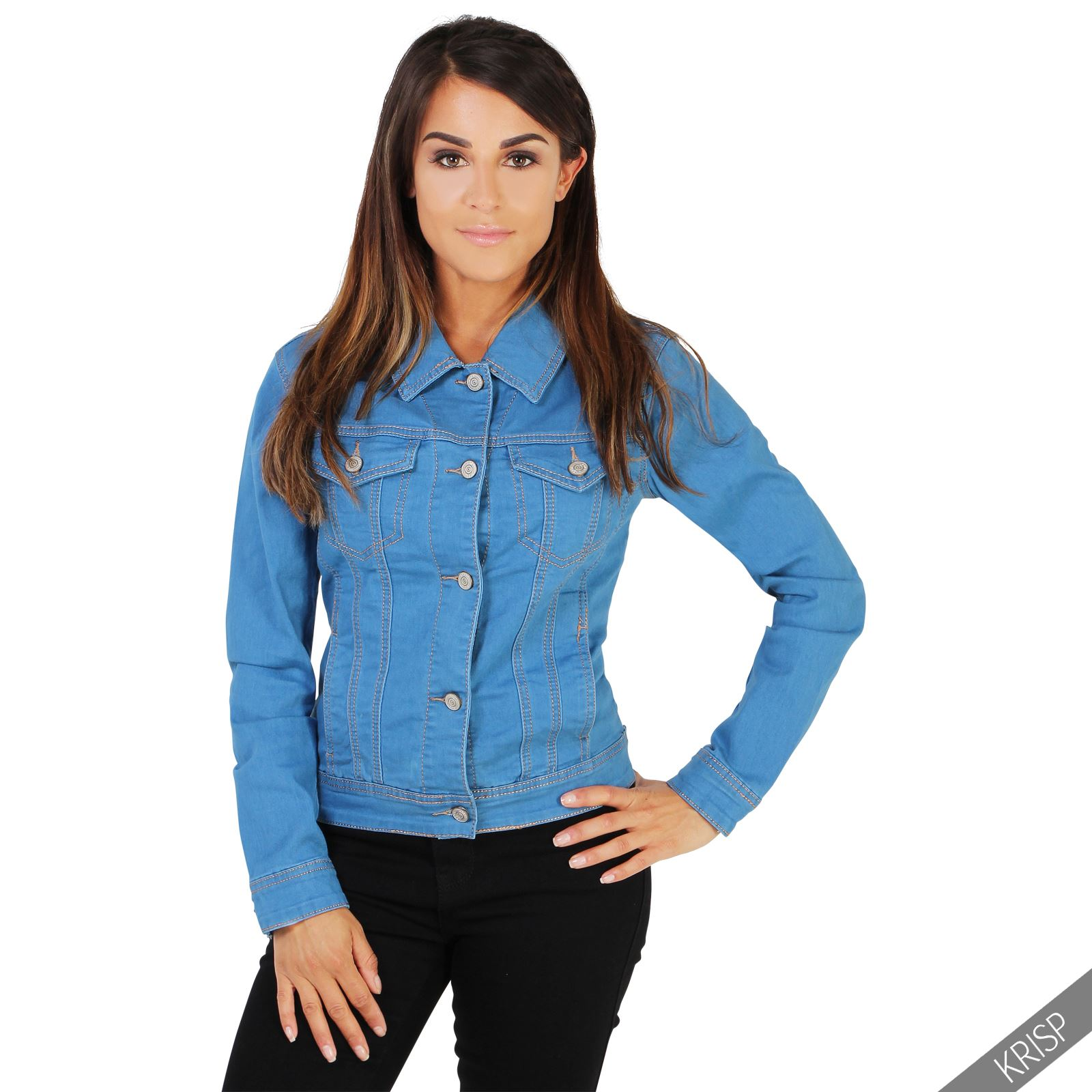 Womens Ladies Light Stretch Denim Jacket Classic Summer ...
