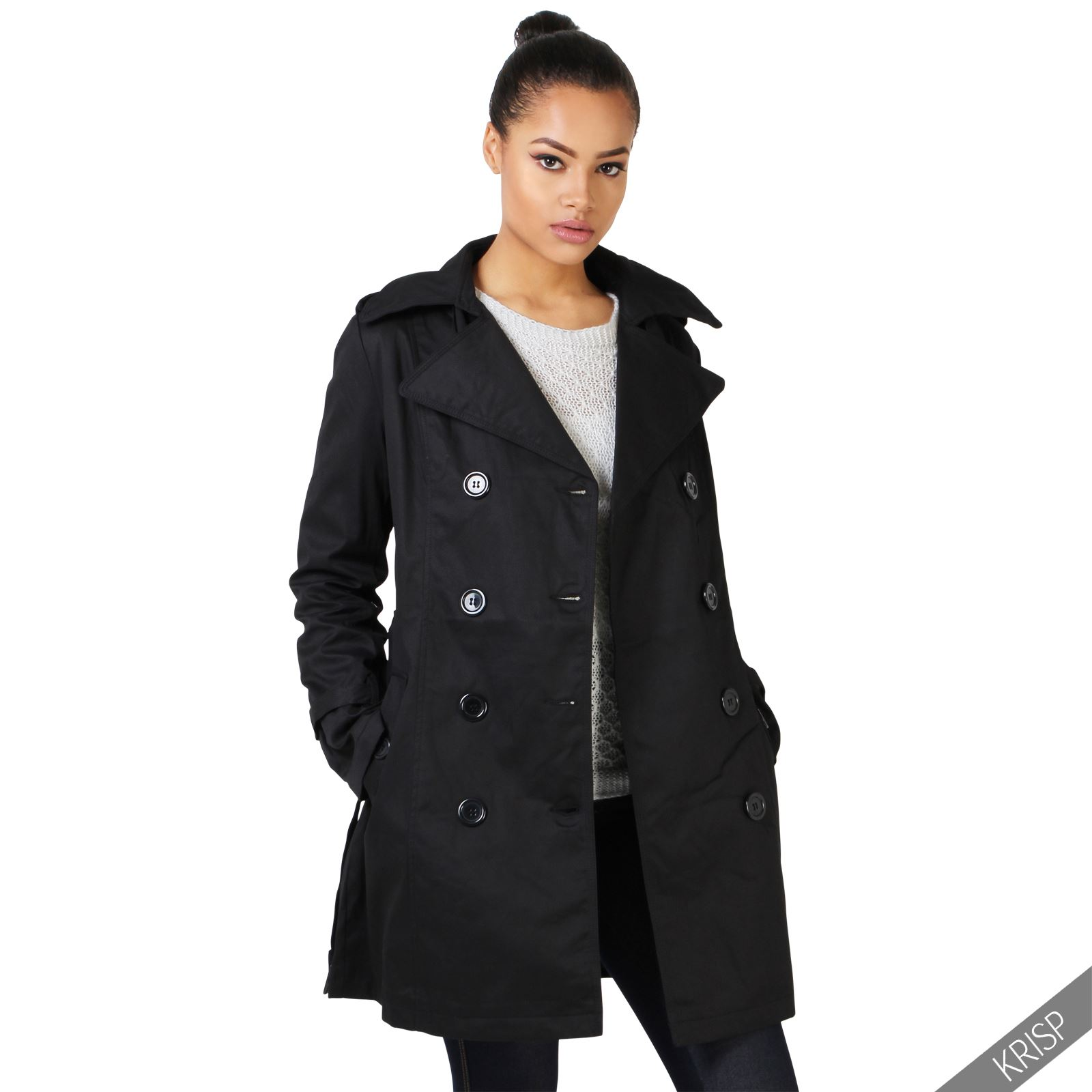 damen klassischer trenchcoat kurzmantel winter jacke. Black Bedroom Furniture Sets. Home Design Ideas