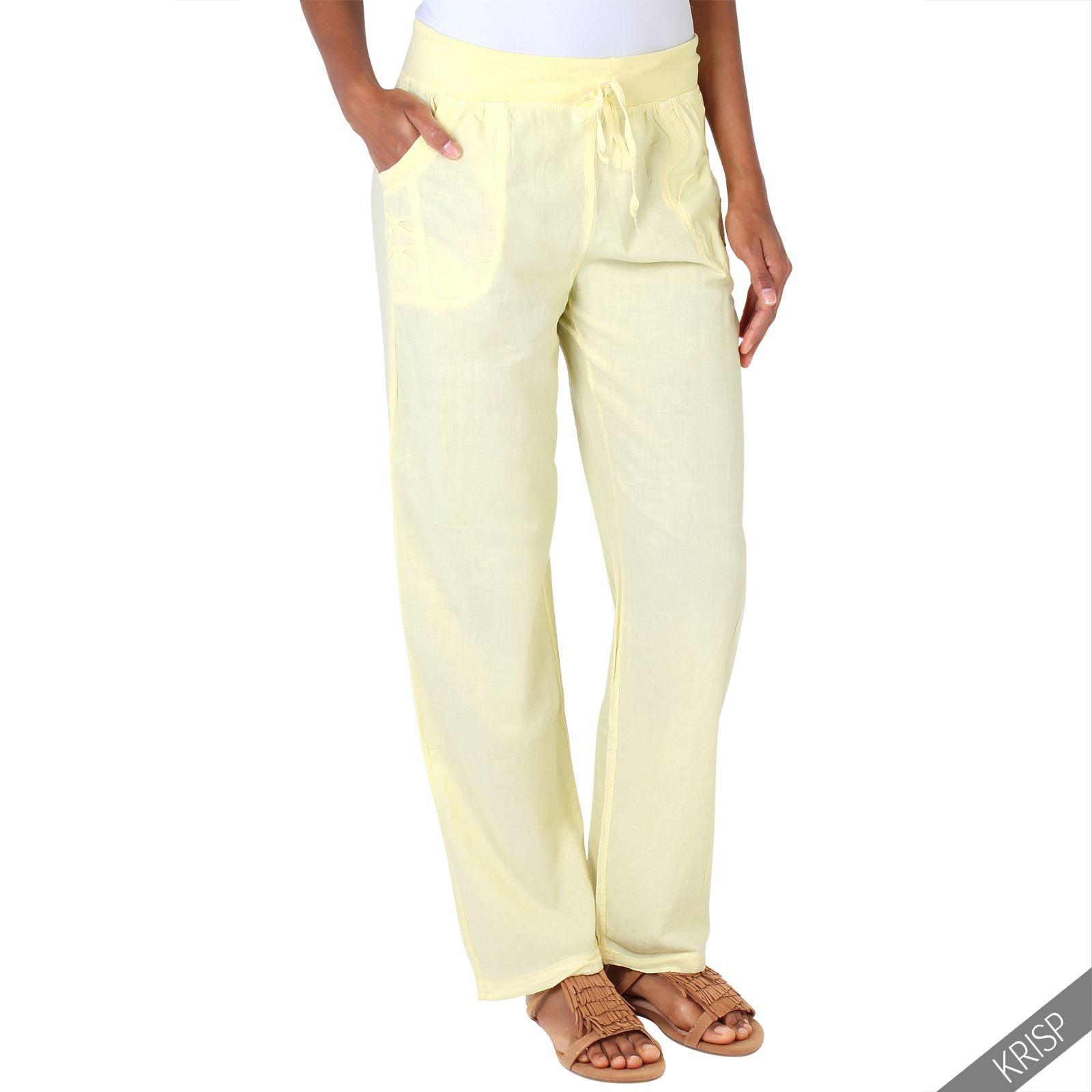 Model Womens Linen Trousers Cropped Capri Or Full Length Pants Casual Fit Size UK 8-18 | EBay