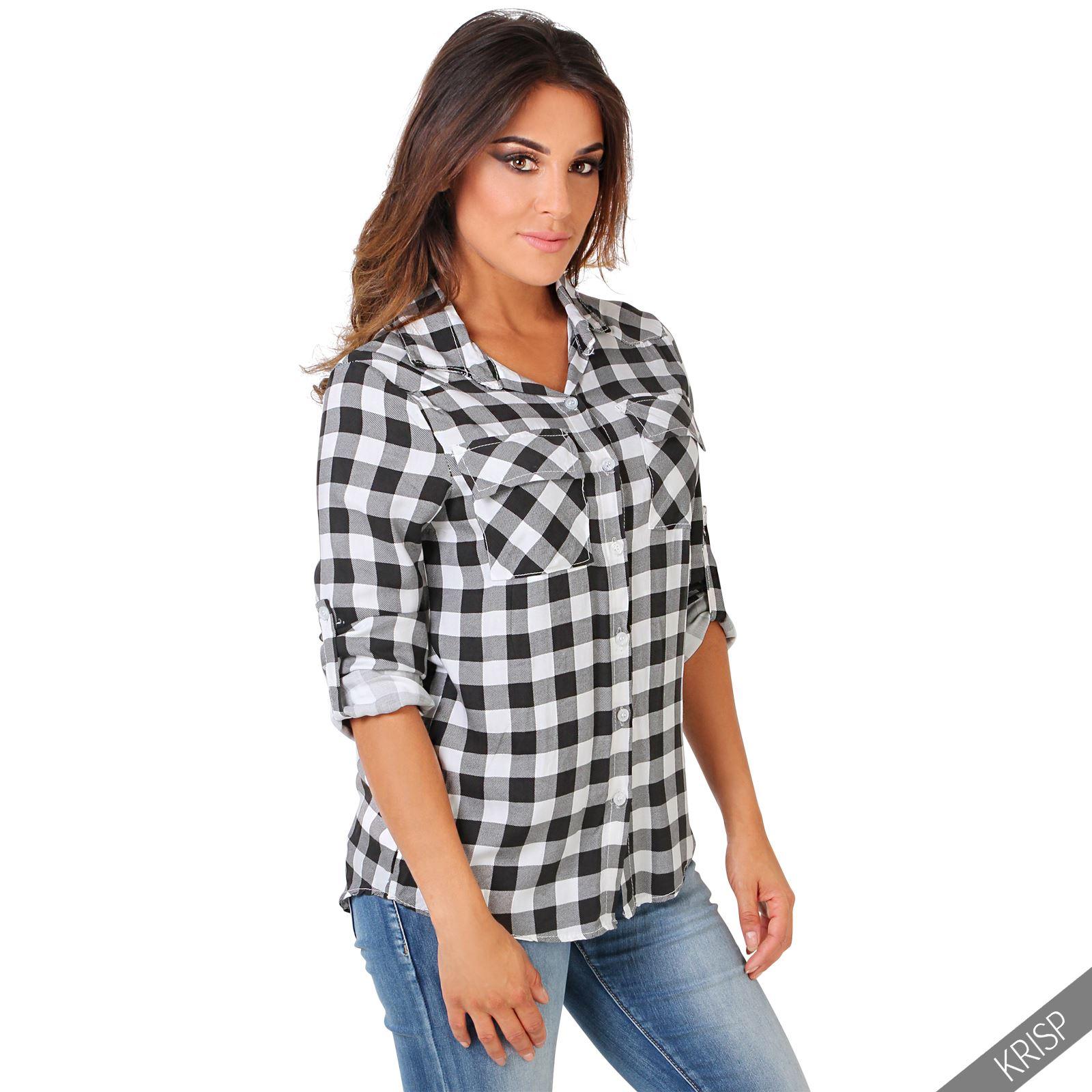 femme chemise bucheron damier tartan manche longue. Black Bedroom Furniture Sets. Home Design Ideas