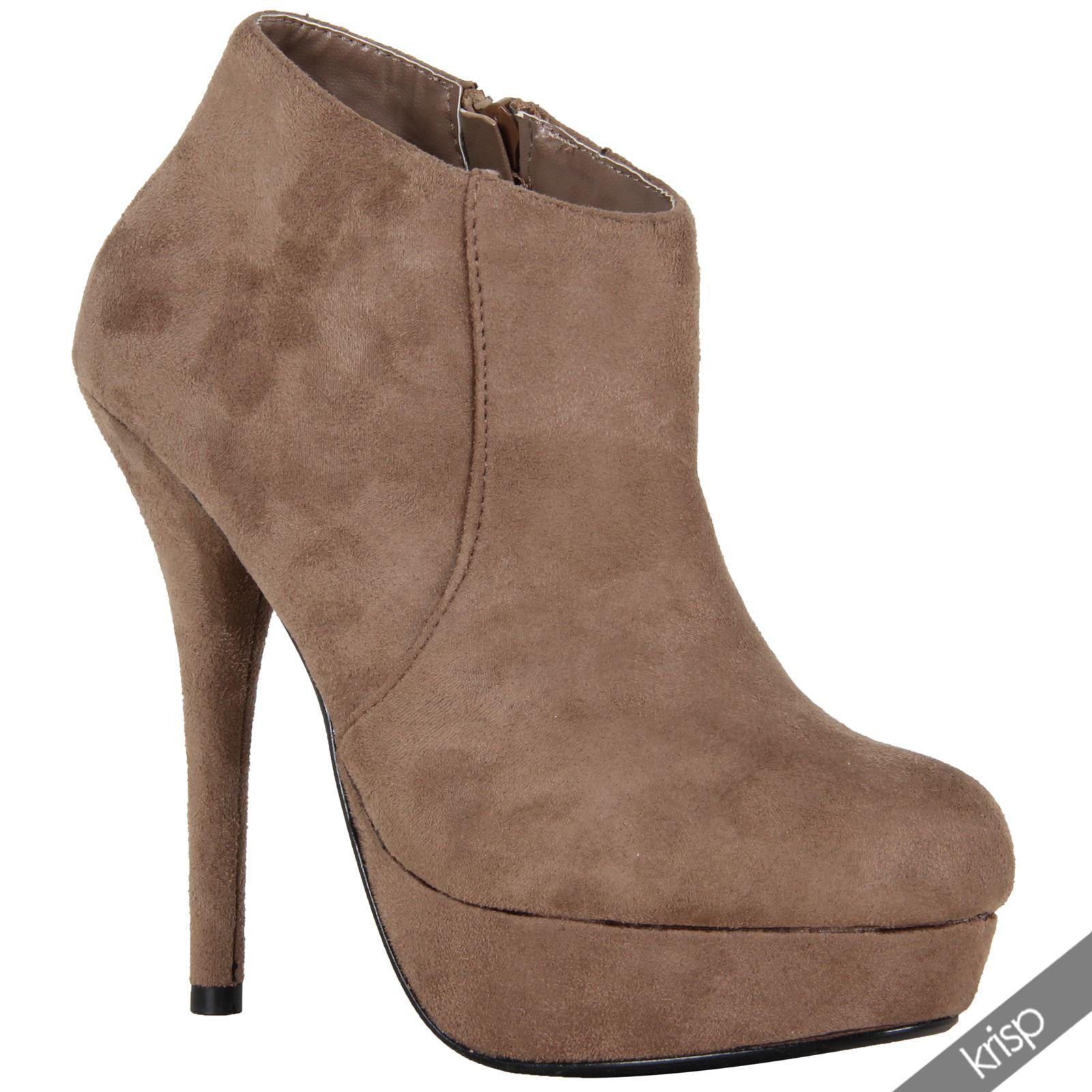 womens suede slim high heel stiletto platform ankle boots