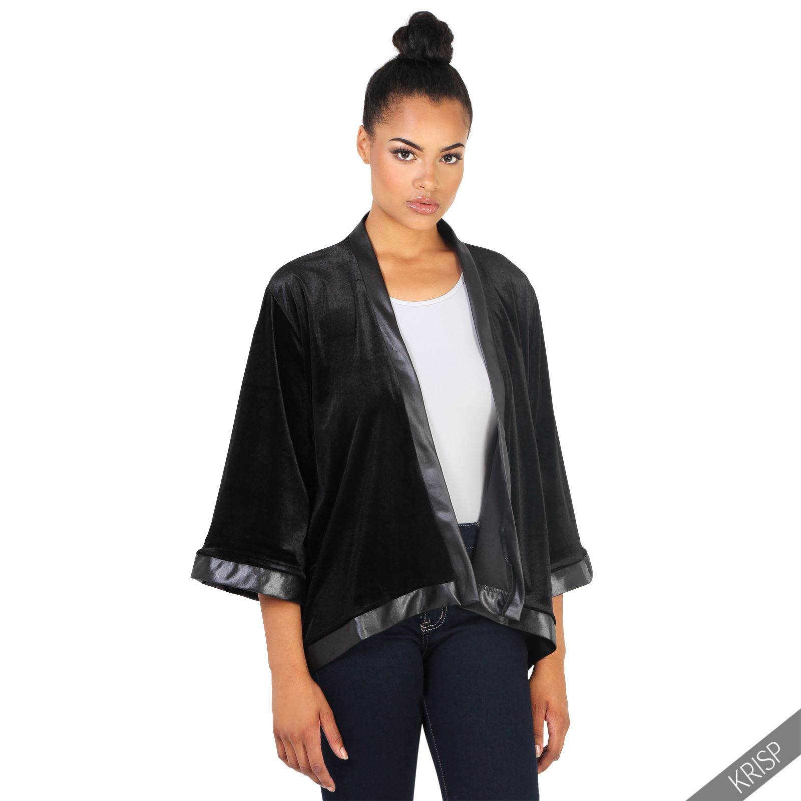 Damen offene samt satin jacke 3 4 arm kimono bluse blazer - Kimono jacke damen ...